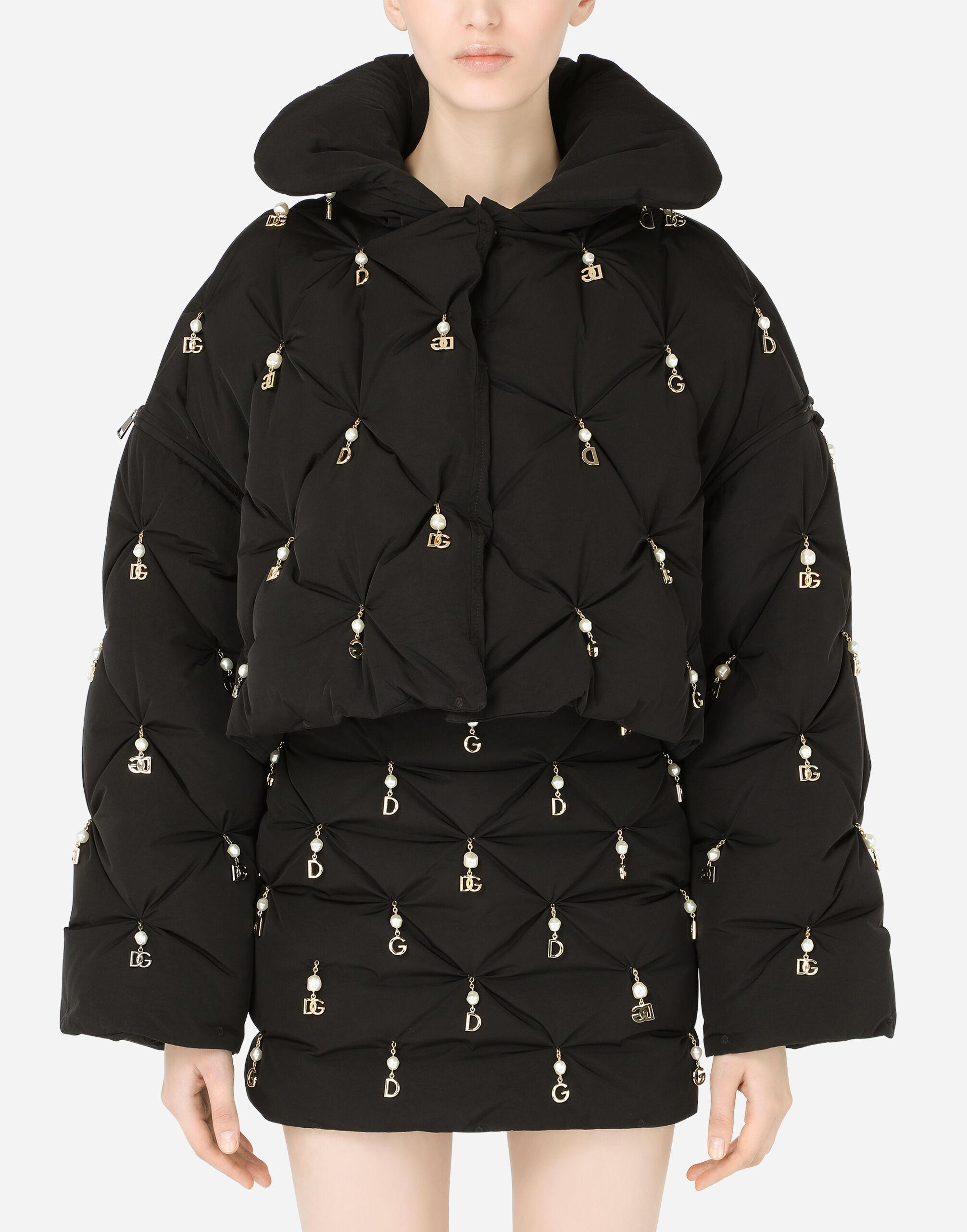 Quilted down jacket with pearl pendant embellishment and DG logo