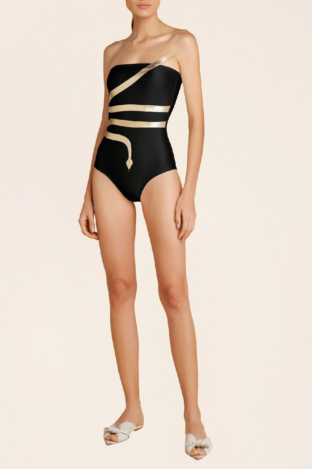 Solid Serpent Detail Strapless Swimsuit