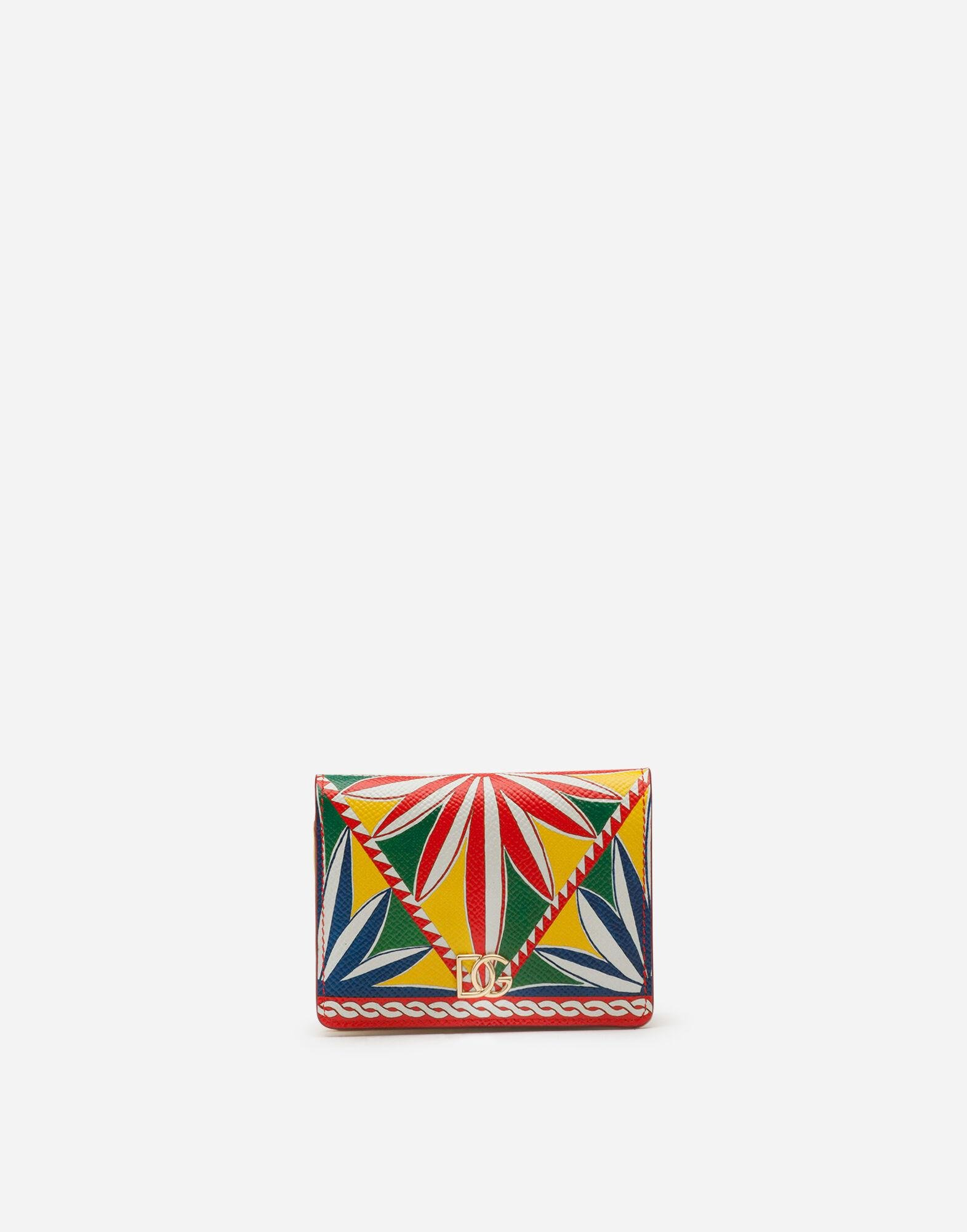 Small continental wallet in carretto-print dauphine calfskin 0
