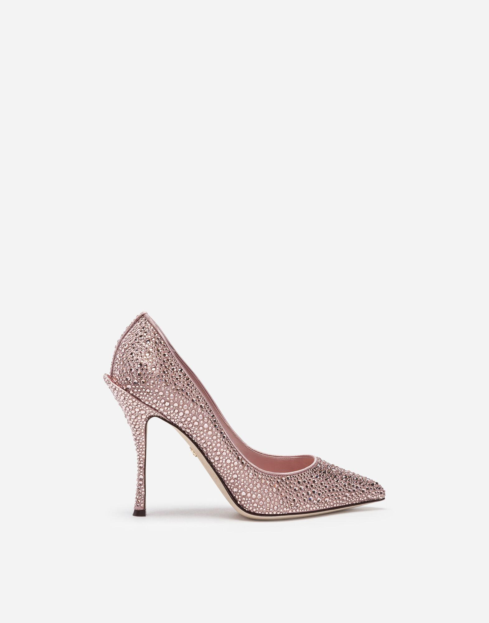 Pumps in satin and crystal