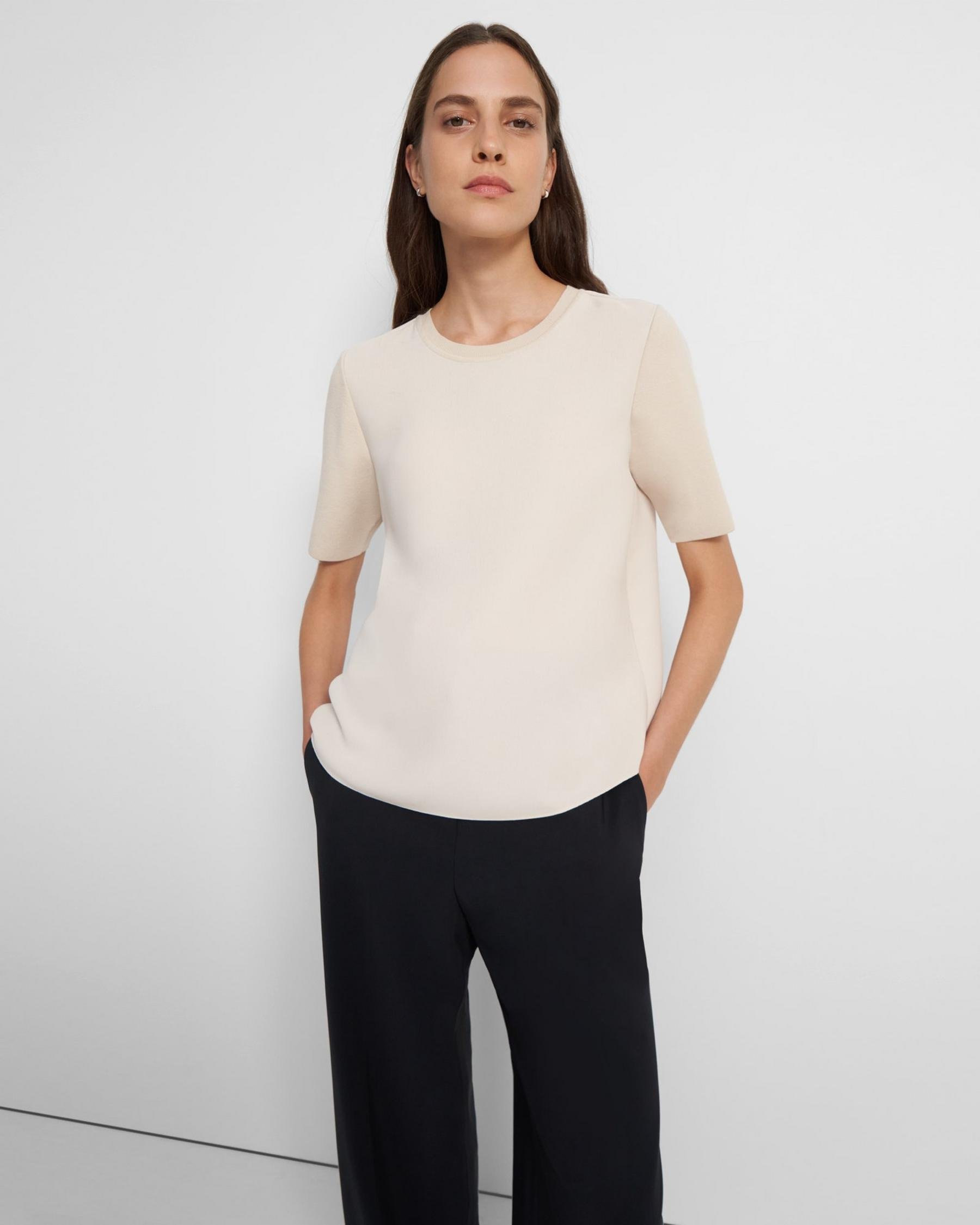 Short-Sleeve Top in Ribbed Crepe