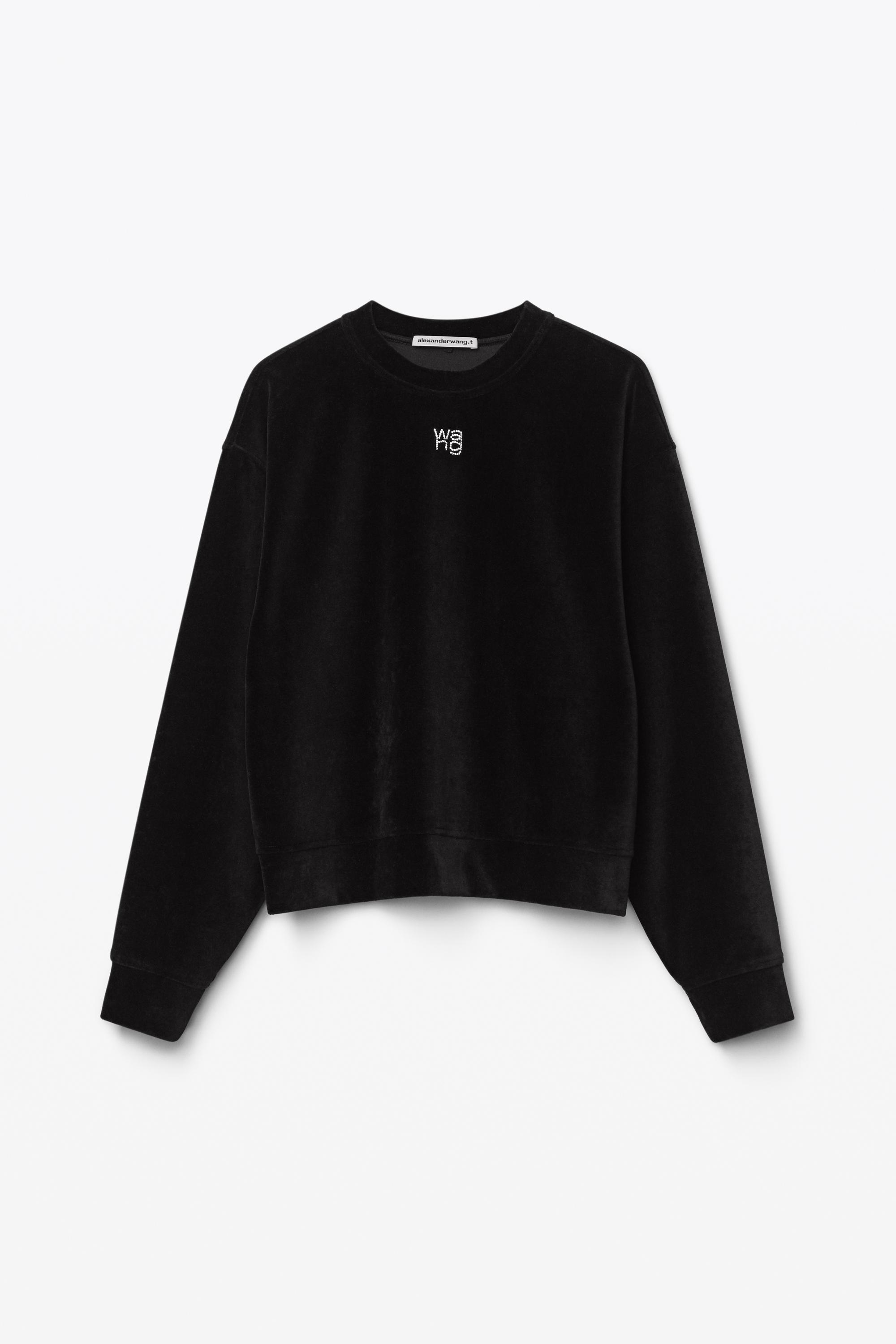 crystal logo pullover in soft velour 1