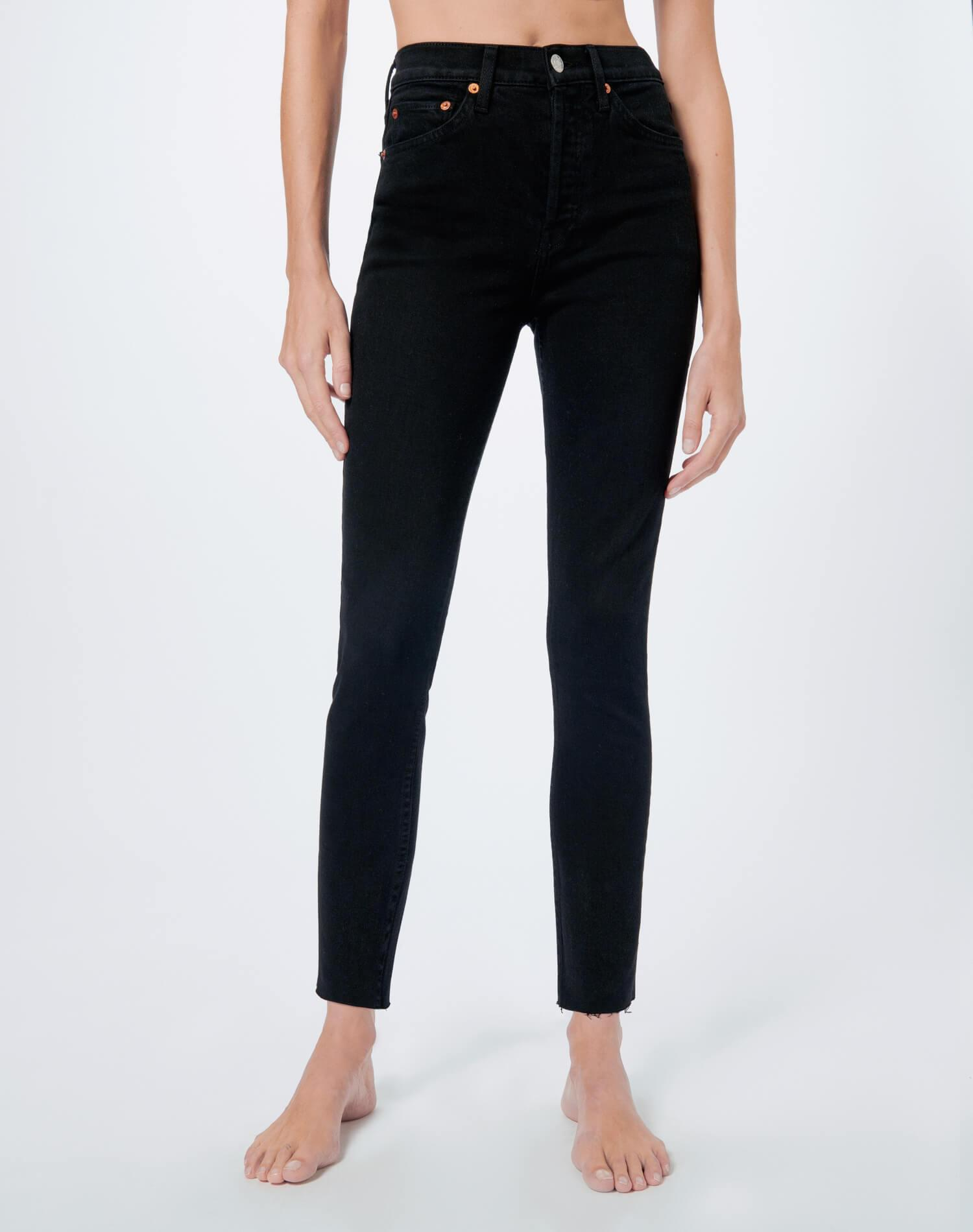 Comfort Stretch High Rise Ankle Crop - Black