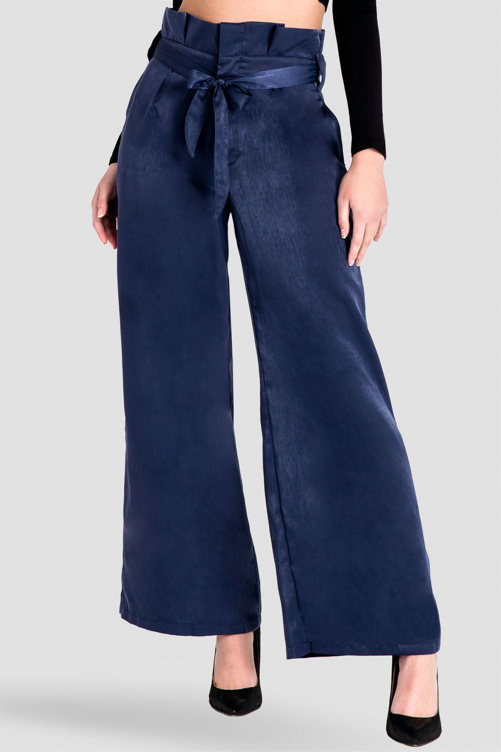 Sue Paper Bag Waist Palazzo Pants - Midnight Blue Washed Satin