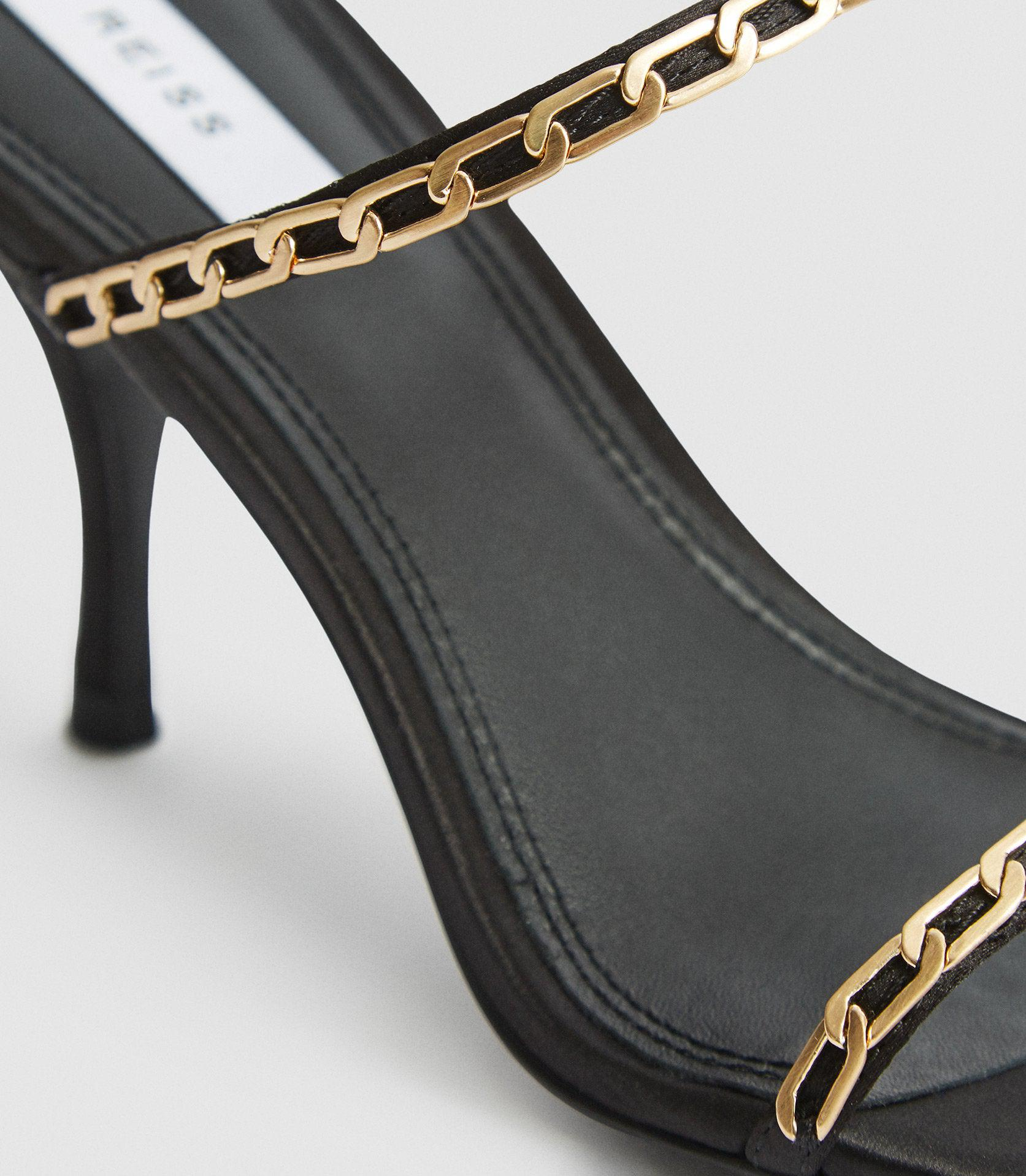 MAGDA CHAIN - SATIN STRAPPY HEELED SANDALS 3