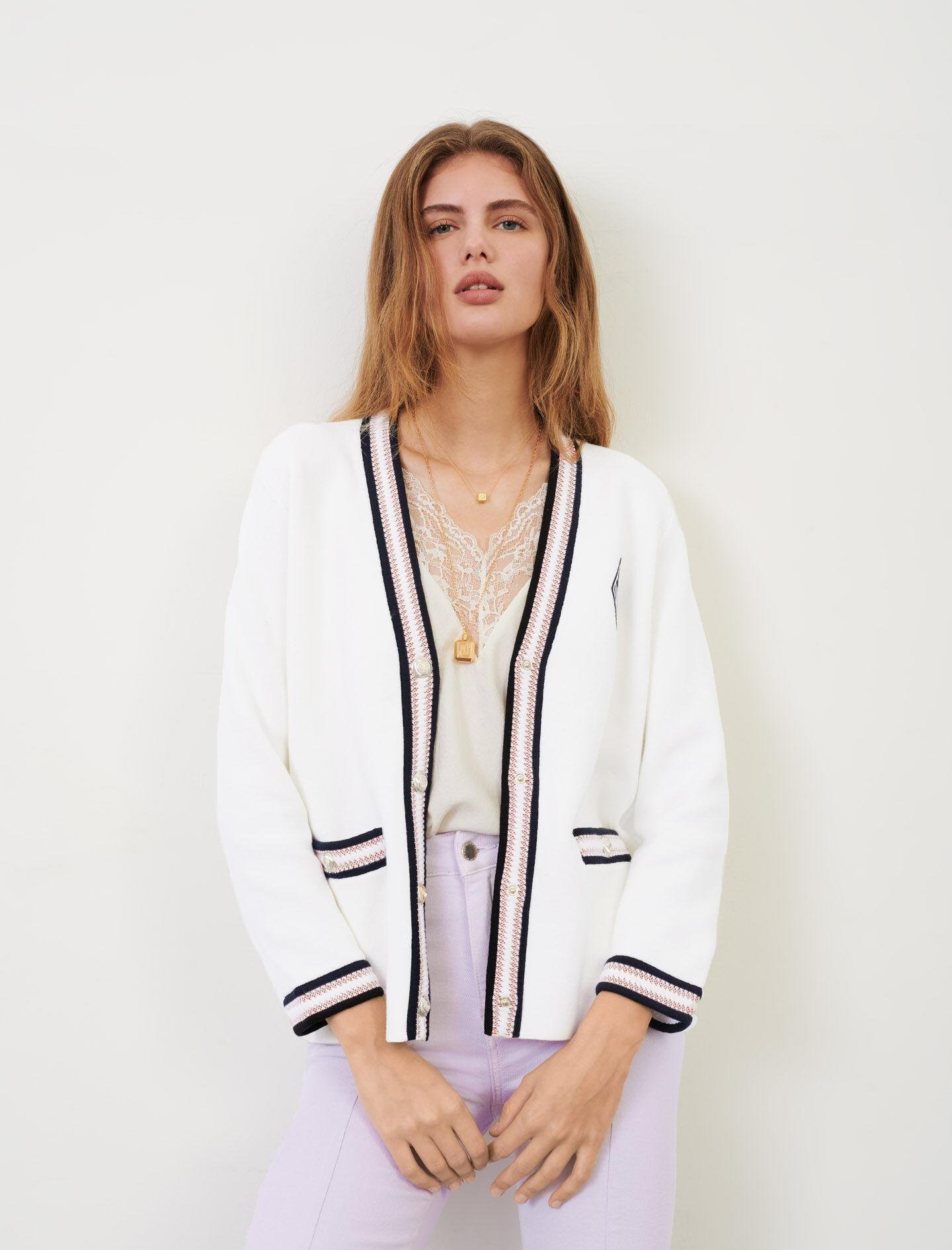 KNIT CARDIGAN WITH CONTRASTING BANDS