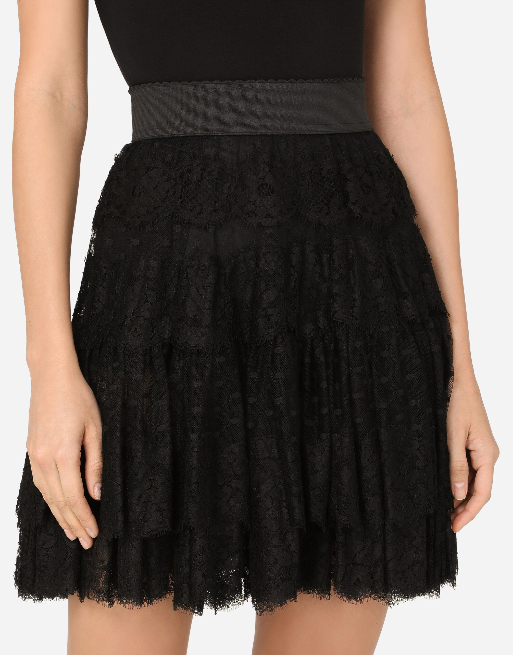 Ruffled tulle and lace midi skirt 2