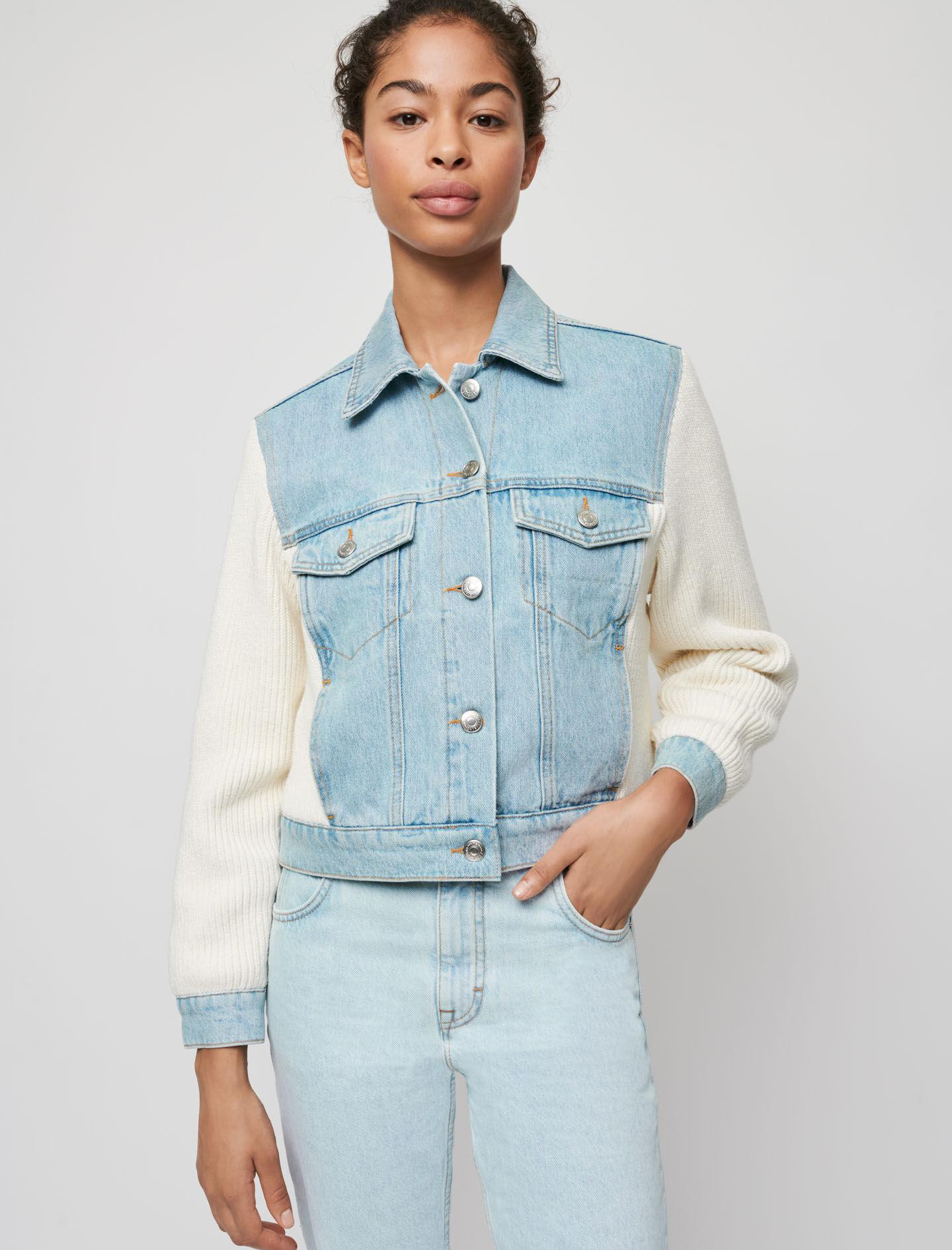 MIXED MATERIAL KNIT AND DENIM JACKET