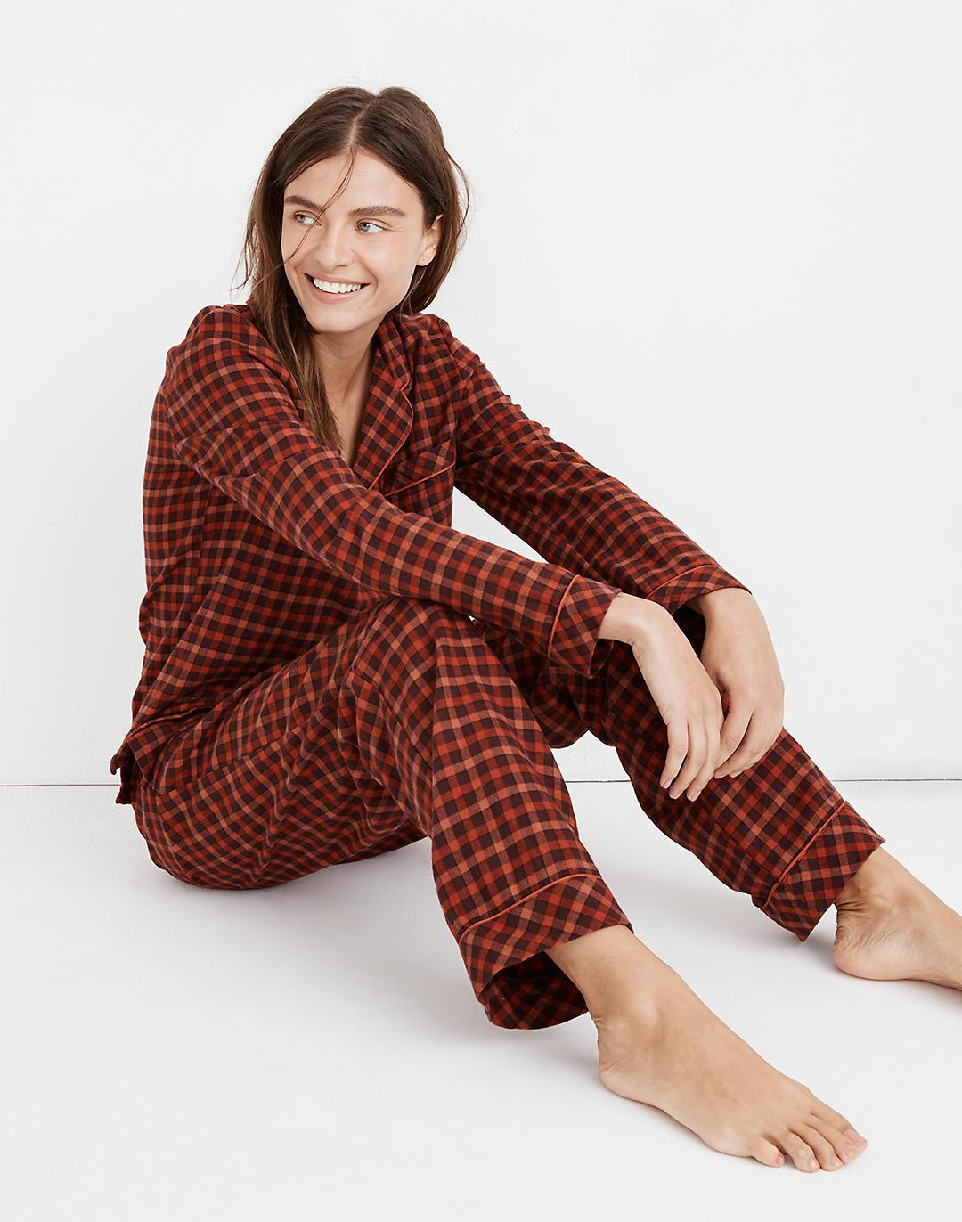 Flannel Bedtime Pajama Set in Plaid 1