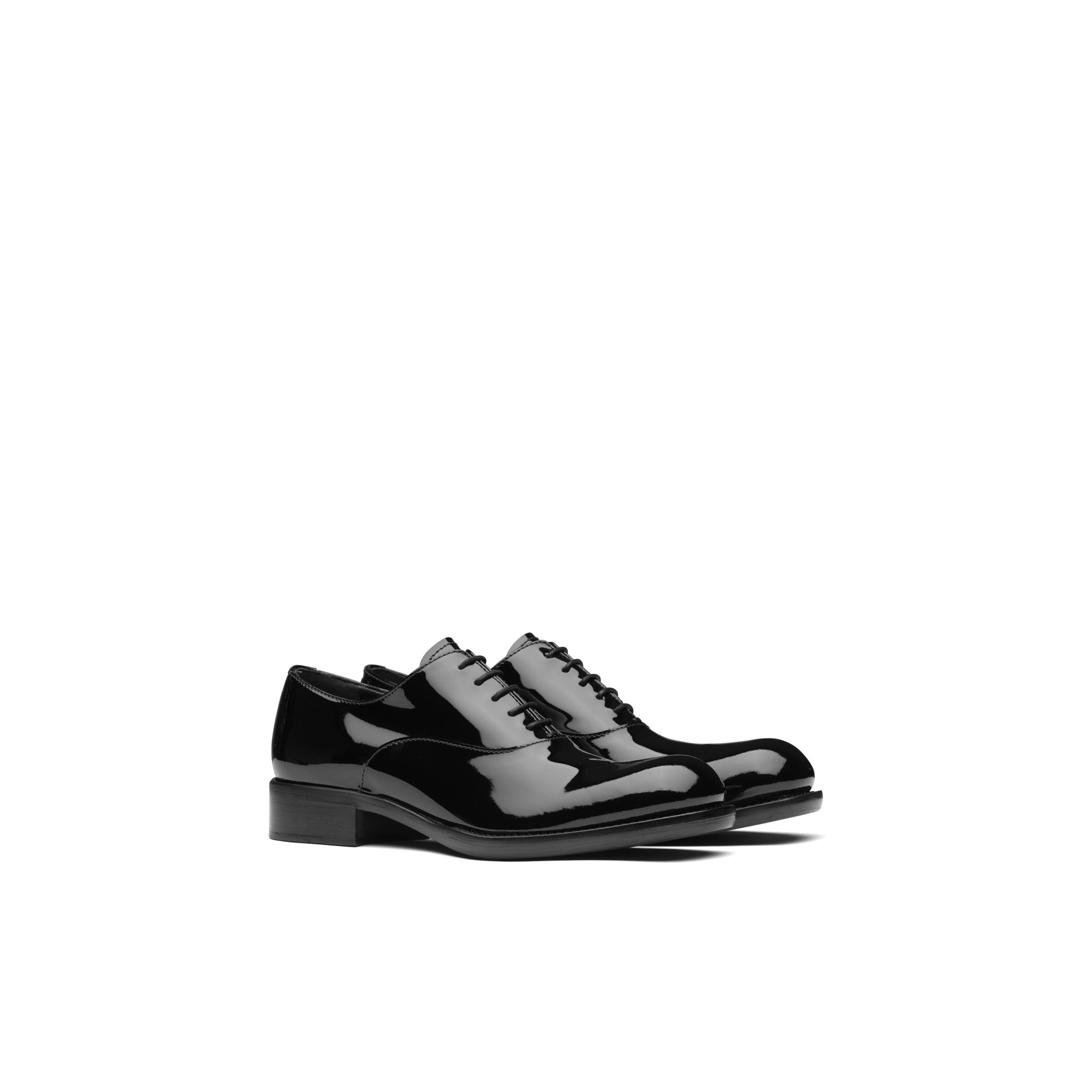Patent Leather Oxford Shoes Women Black