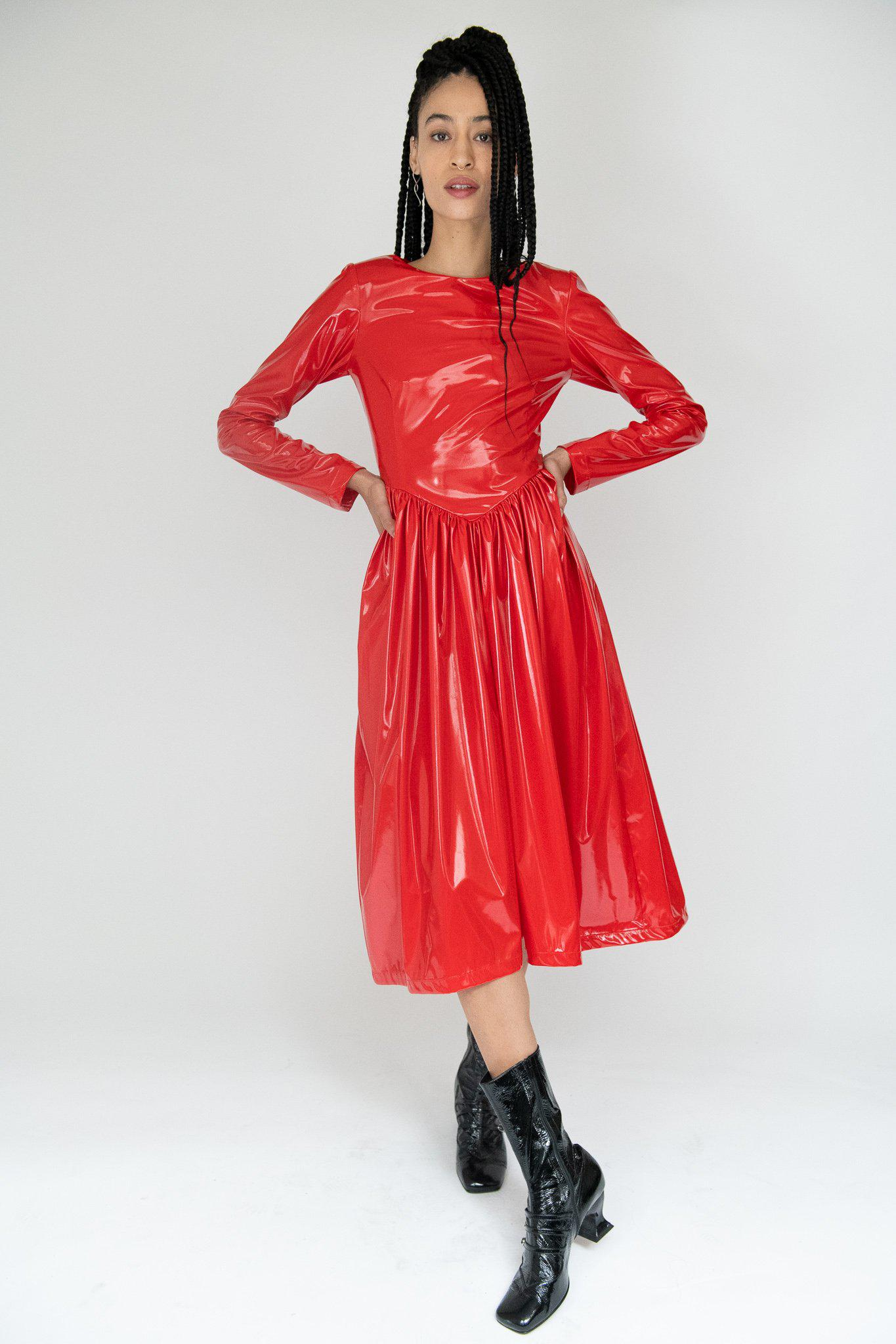 Willow Dress in Chili Red Latex