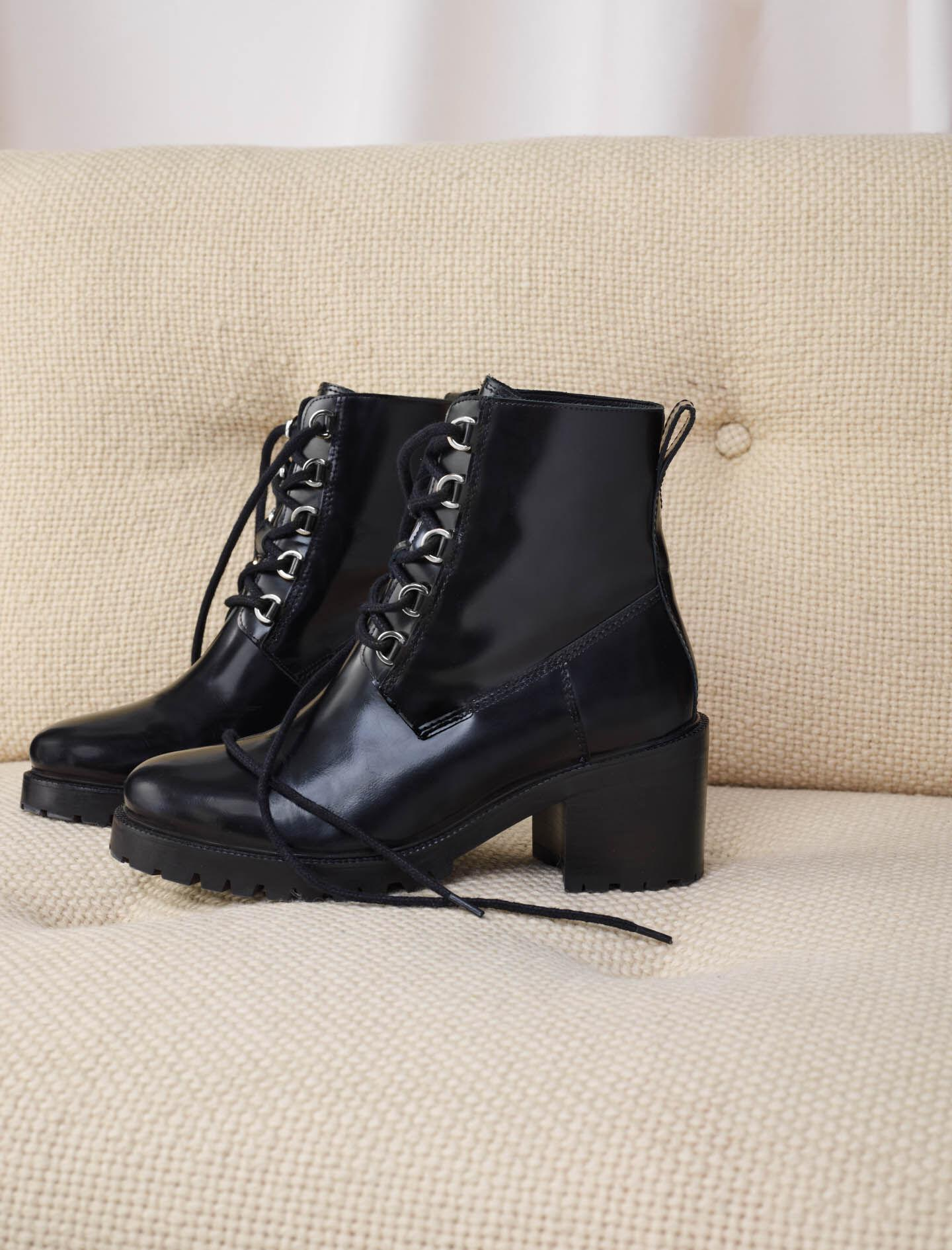 BLACK LEATHER HEELED BOOTS 5