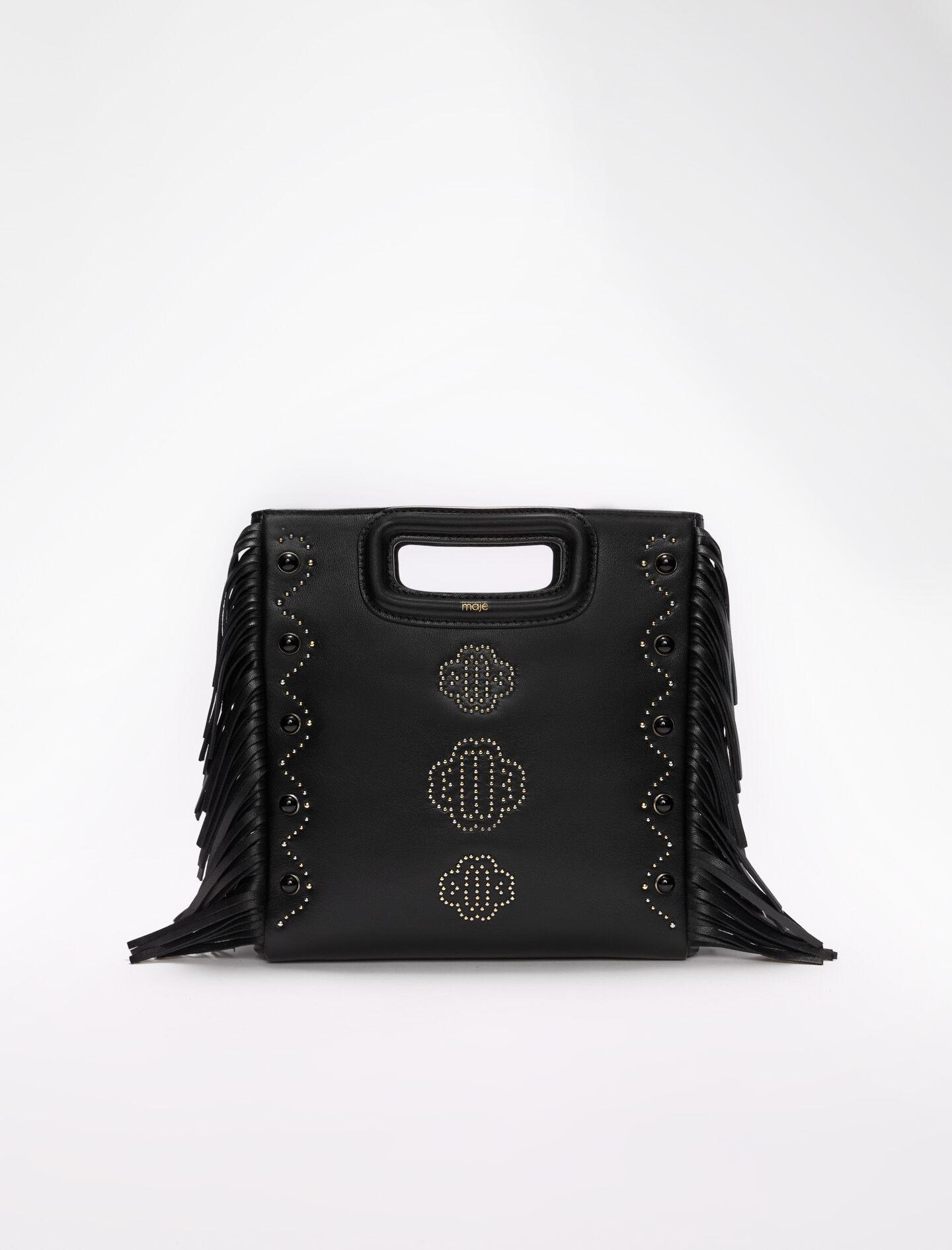 LEATHER M BAG WITH CLOVER MOTIF STUDS