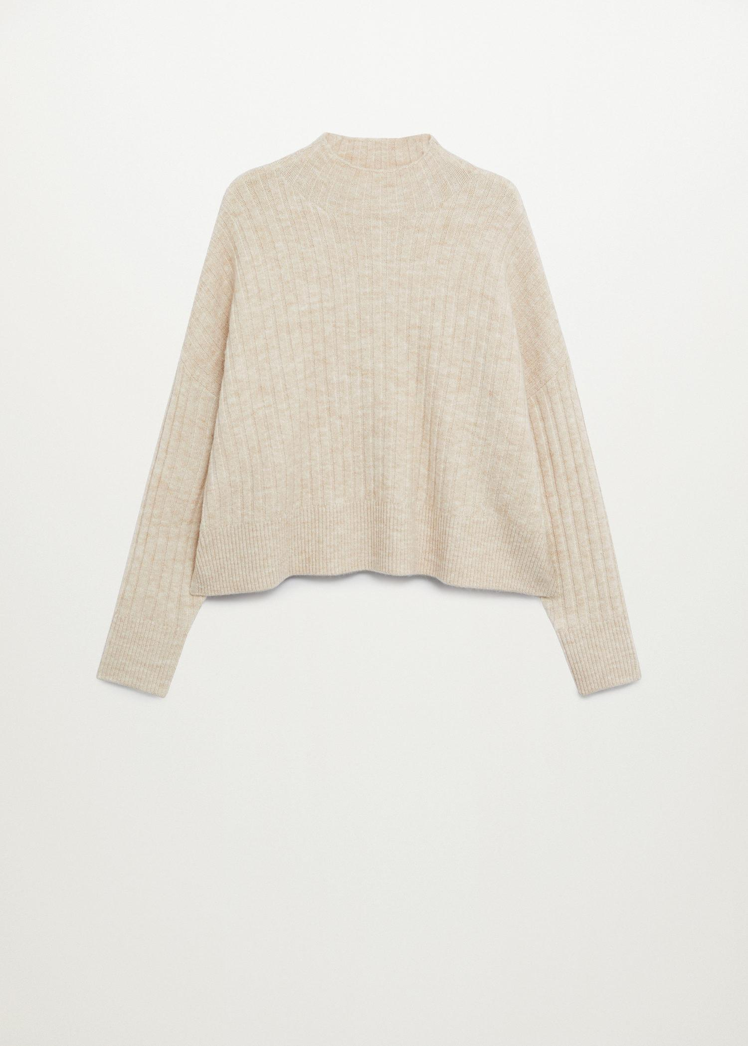 High collar ribbed knit sweater 7