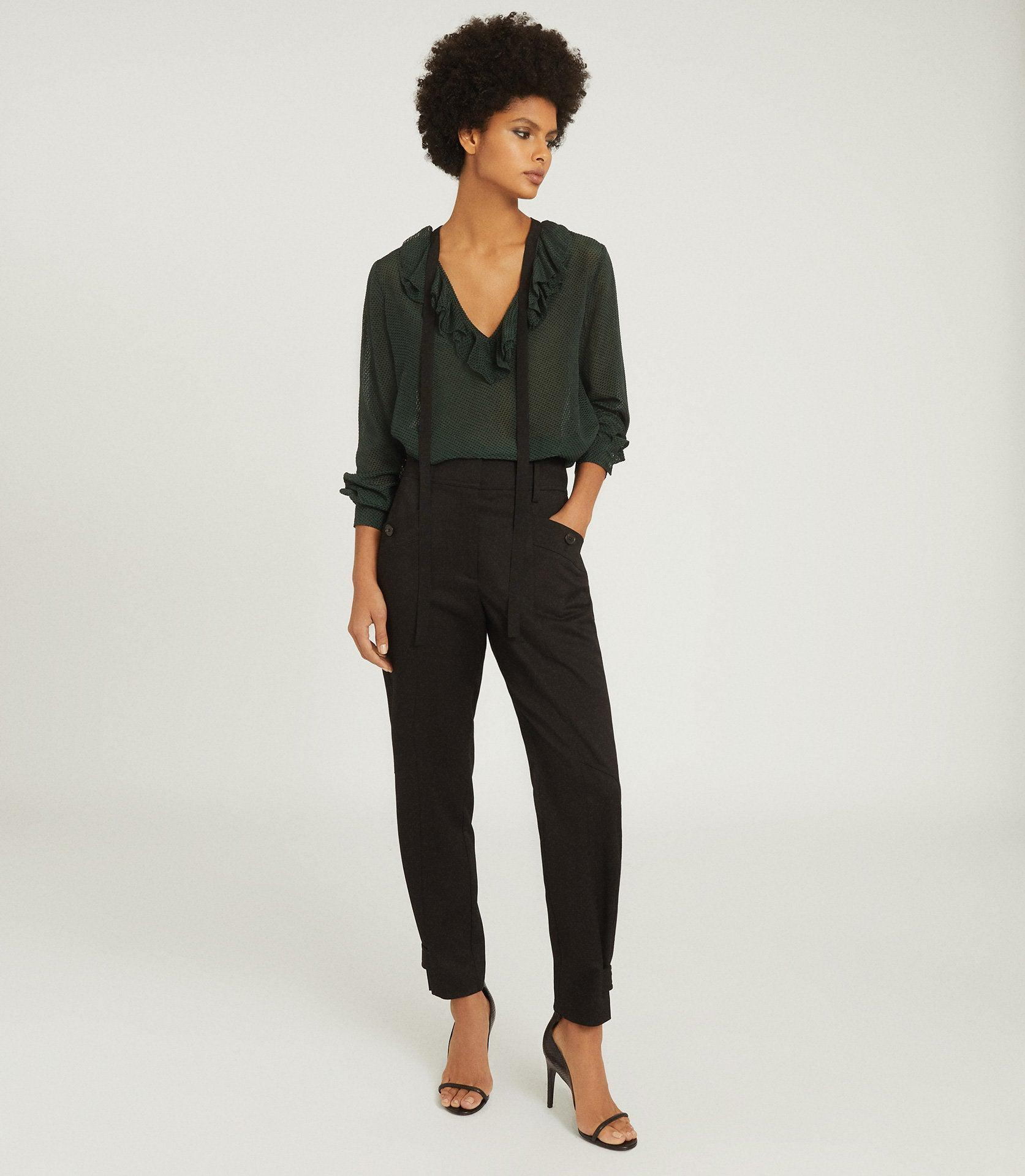 MACKENZIE - TEXTURED BLOUSE WITH BOW DETAIL