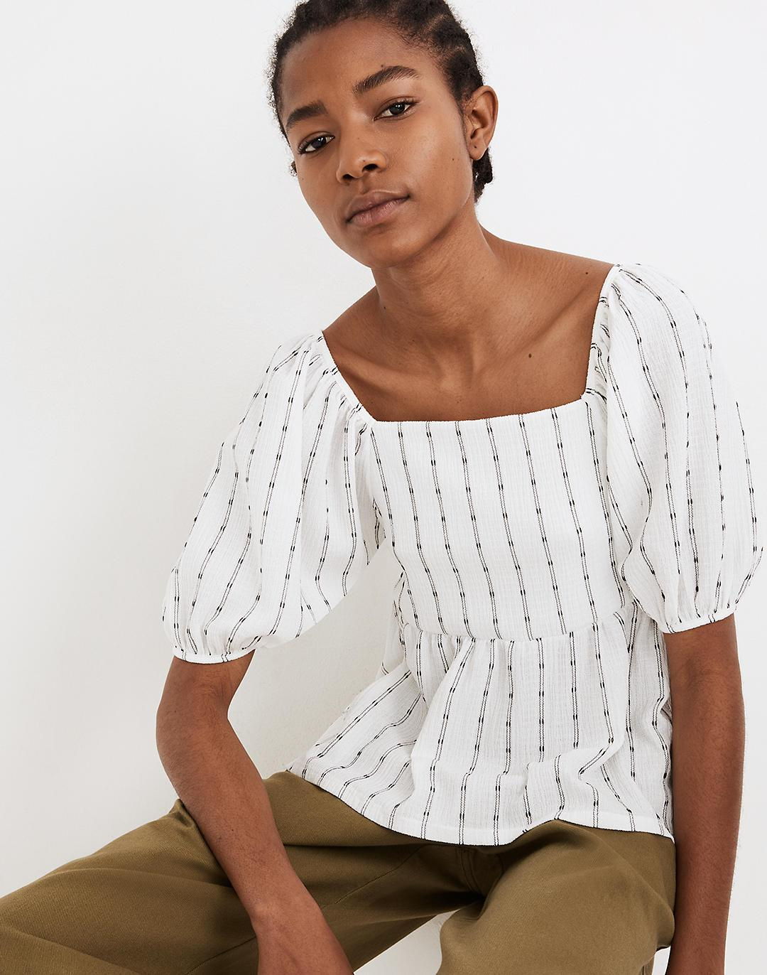 Puff-Sleeve Empire Top