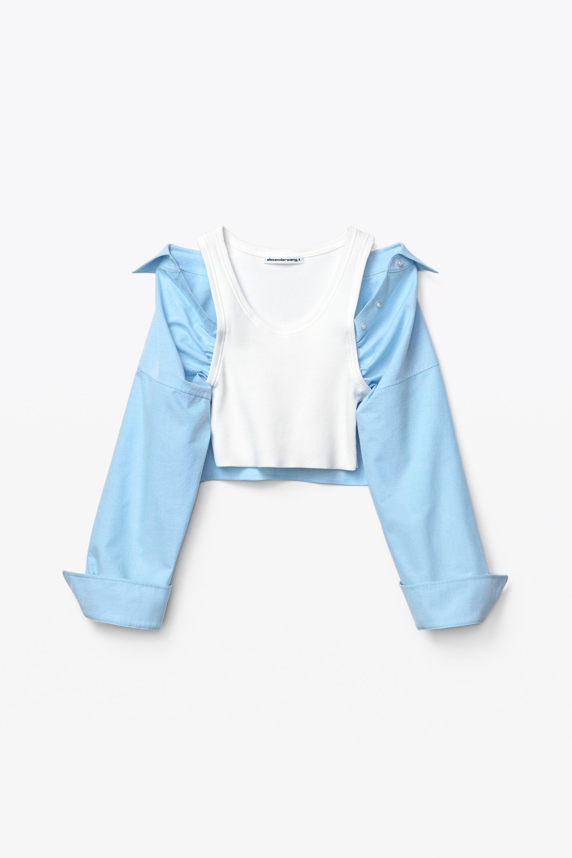 hybrid top in cotton rib and oxford 1