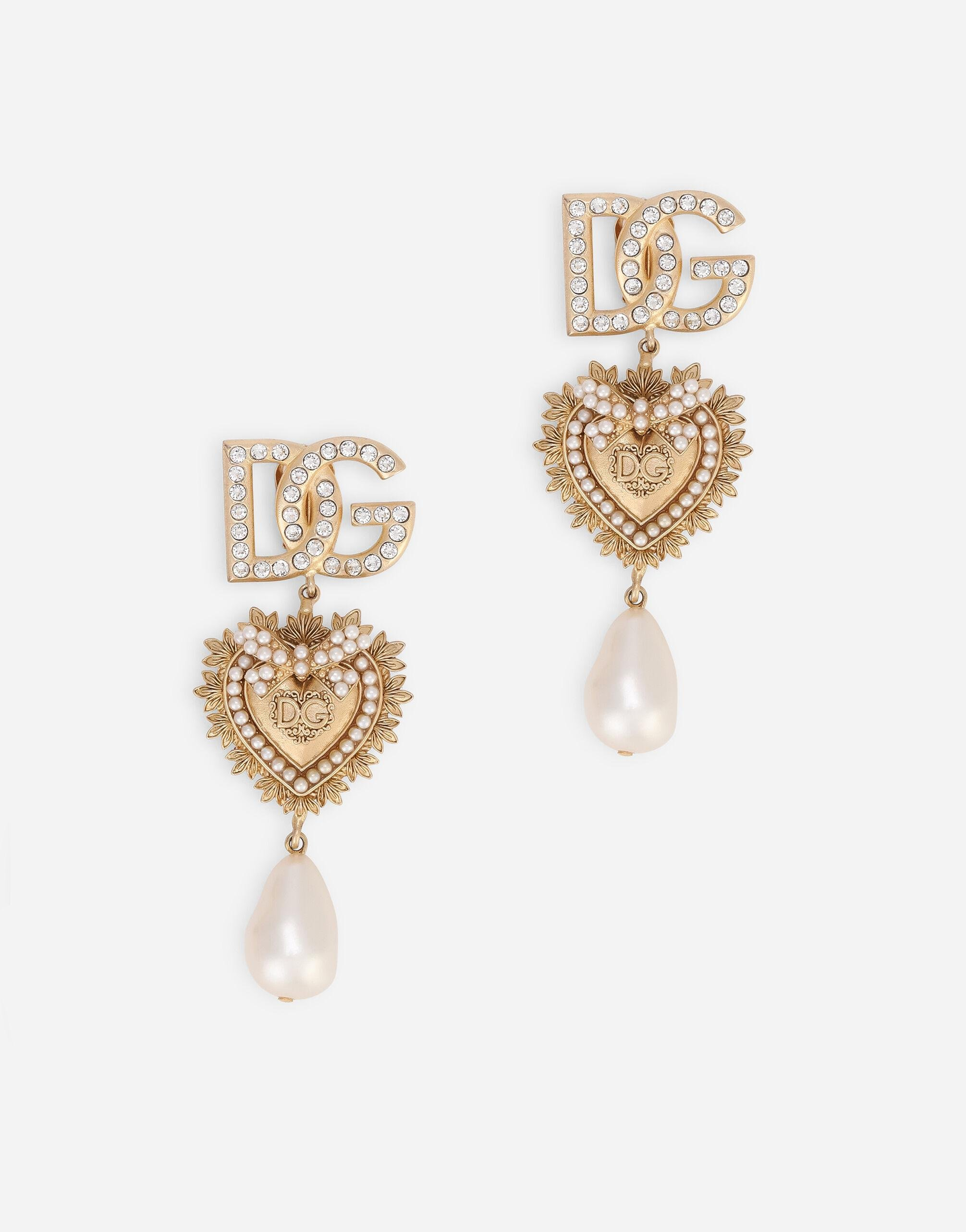 Clip-on drop earrings with decorative sacred heart, DG logo and pearl details