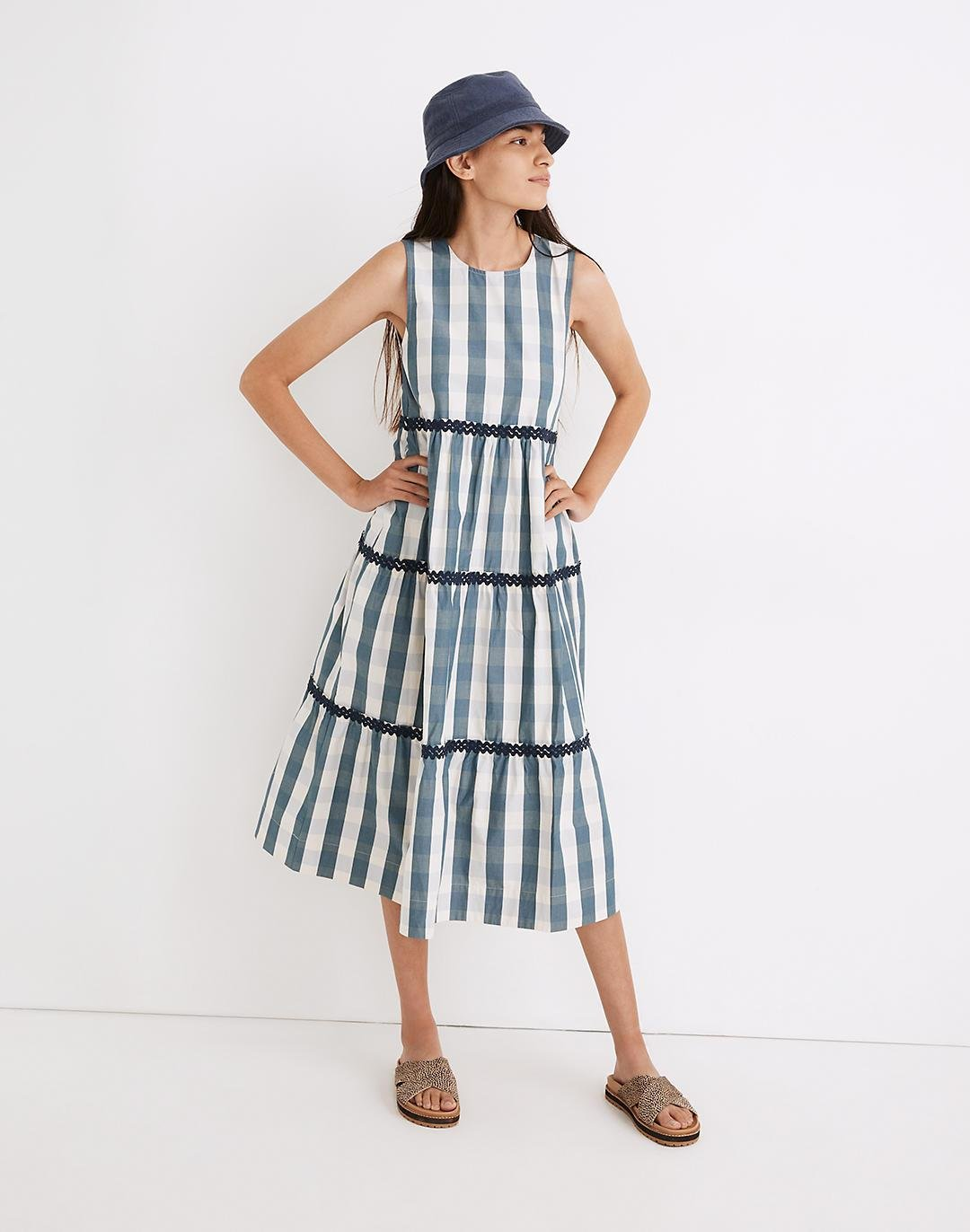 Rickrack Cattail Tiered Dress in Gingham Check