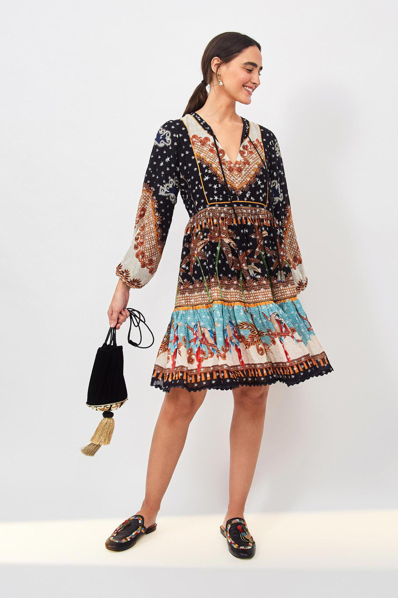 EMBROIDERED FOREST MINI DRESS