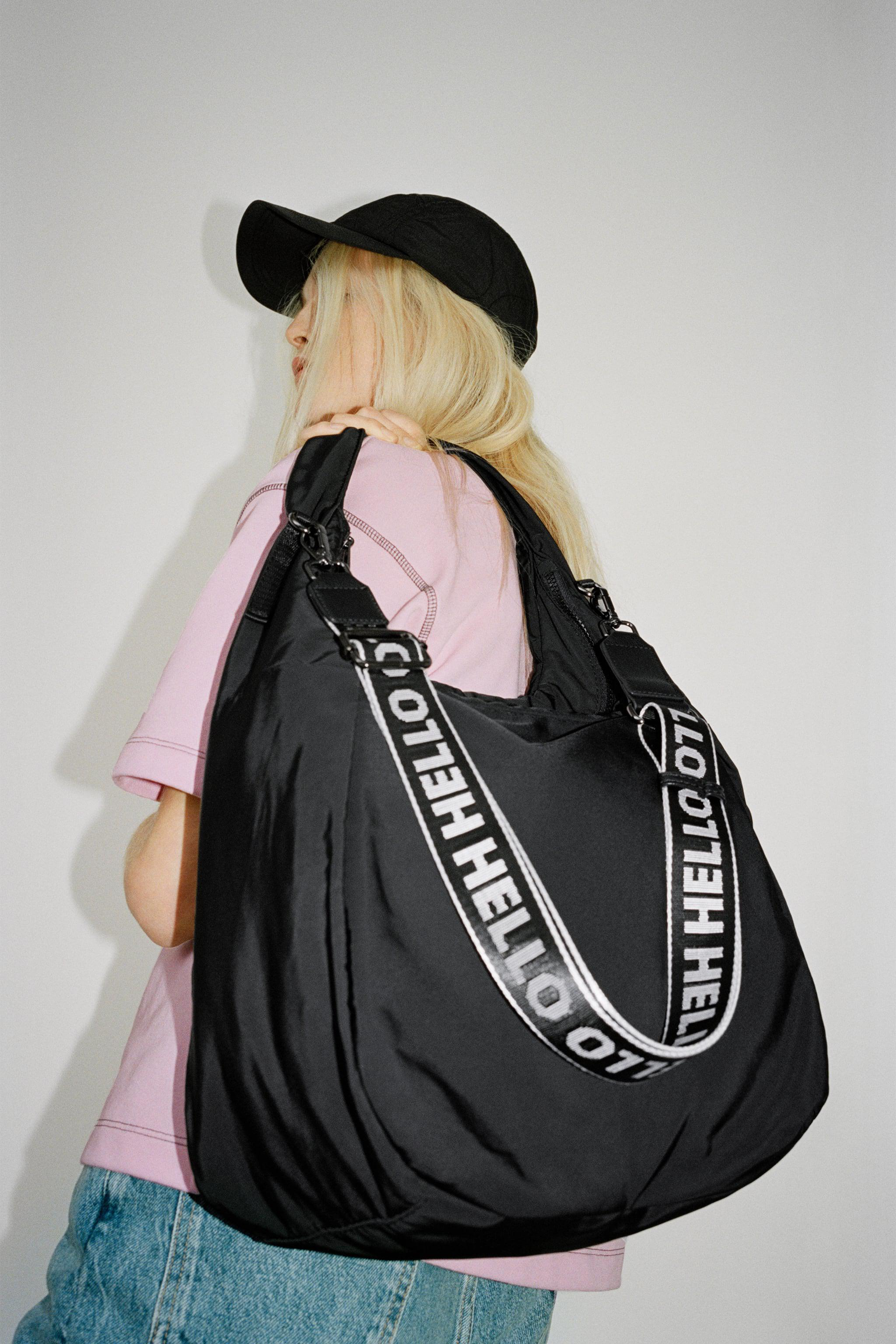 NYLON TOTE BAG WITH TEXT DETAIL 0