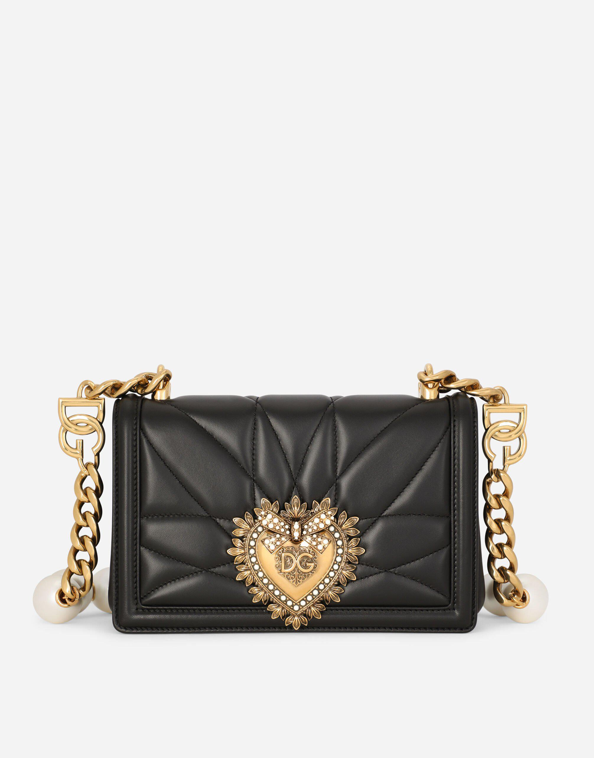 Medium Devotion Bag in quilted nappa leather with bejeweled strap