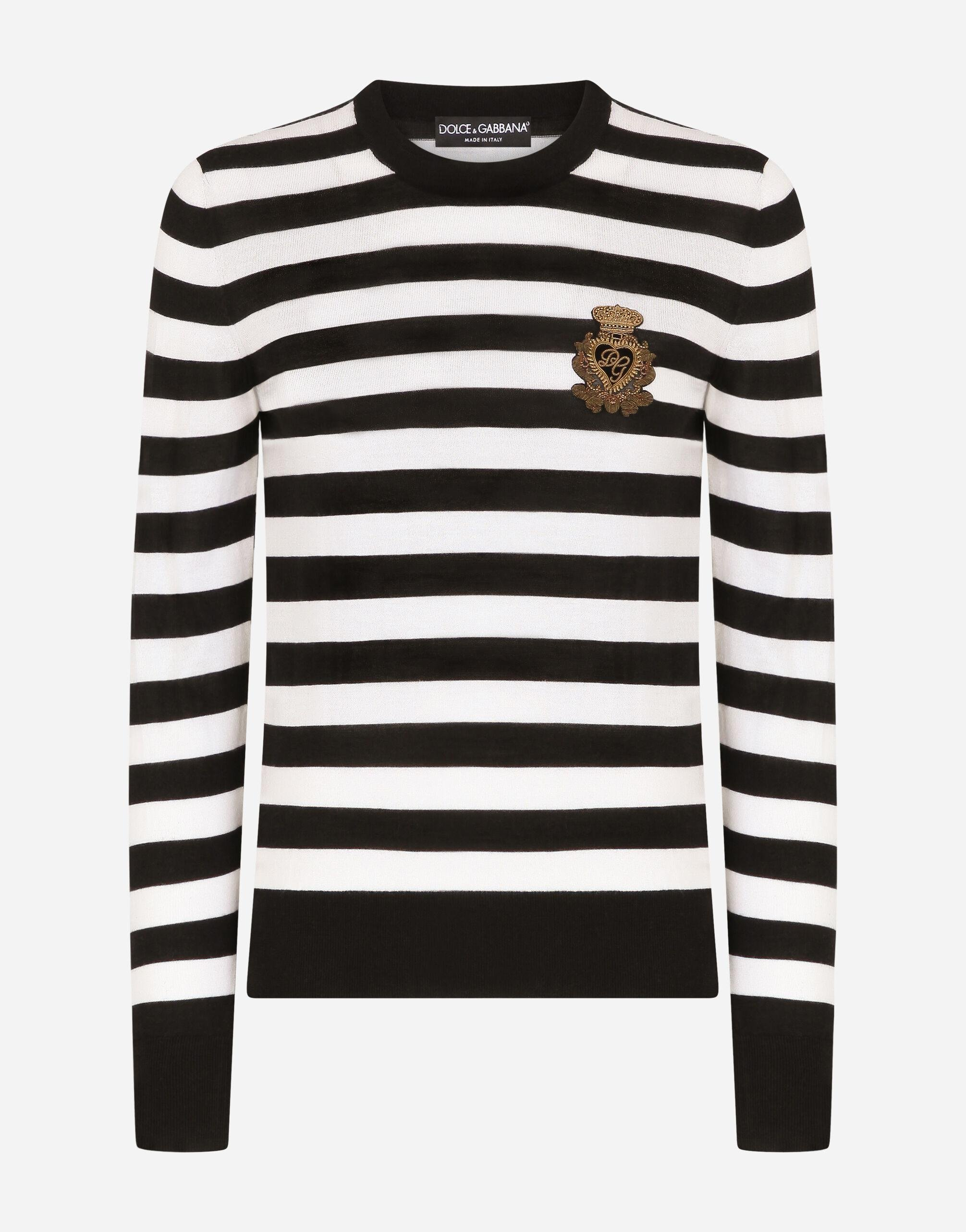Striped crew-neck sweater in silk and cashmere with logo detail 5