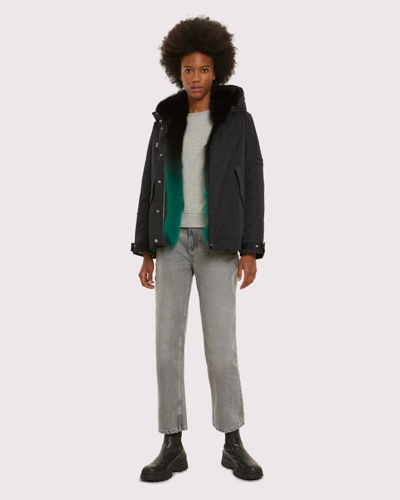 cropped parka in fox reversible technical cotton