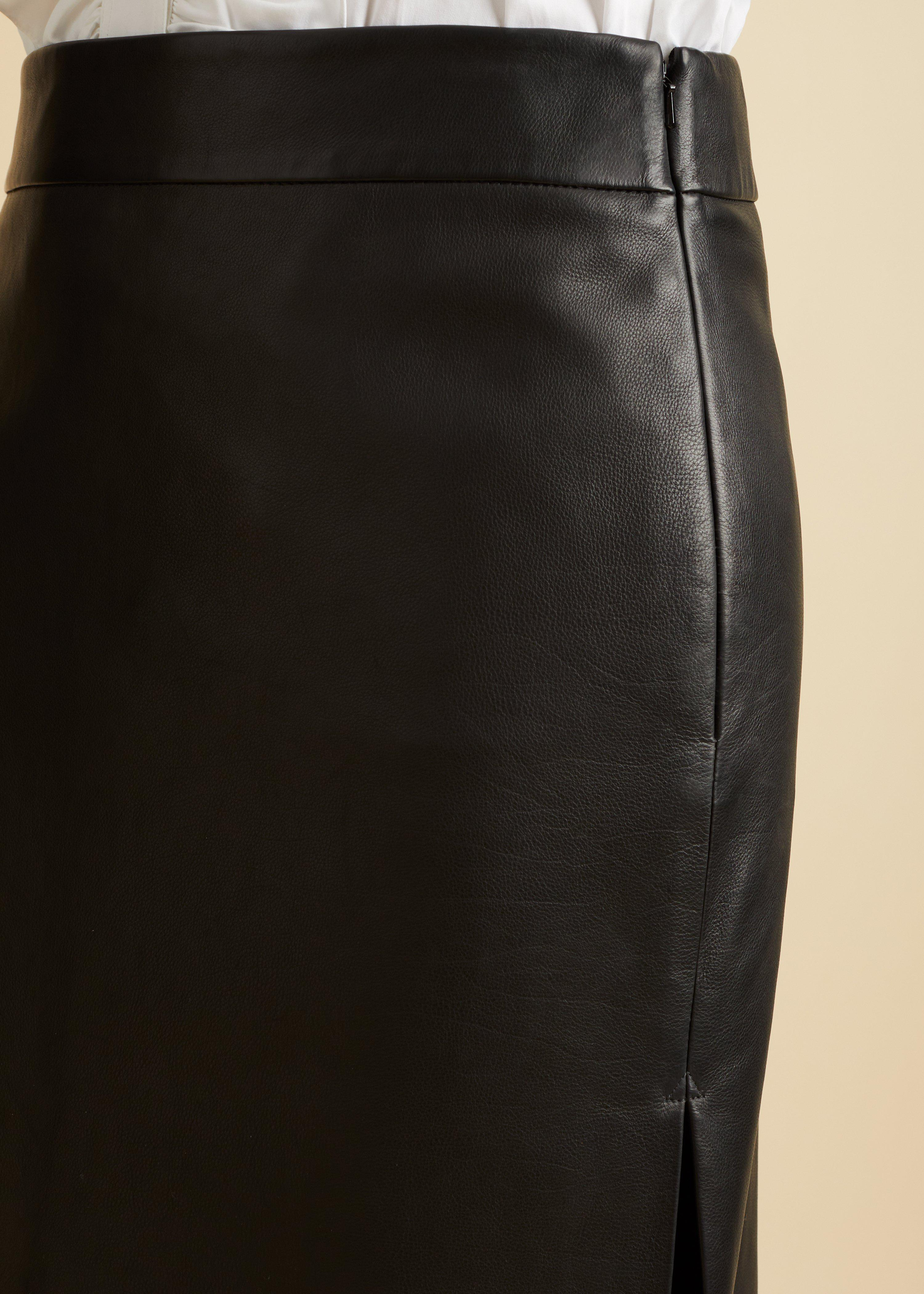 The Myla Skirt in Black Leather 7