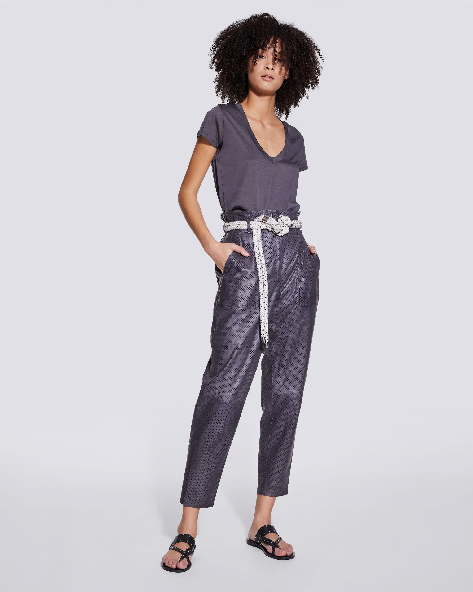 ADEUS PERFORATED LEATHER PAPERBAG PANTS