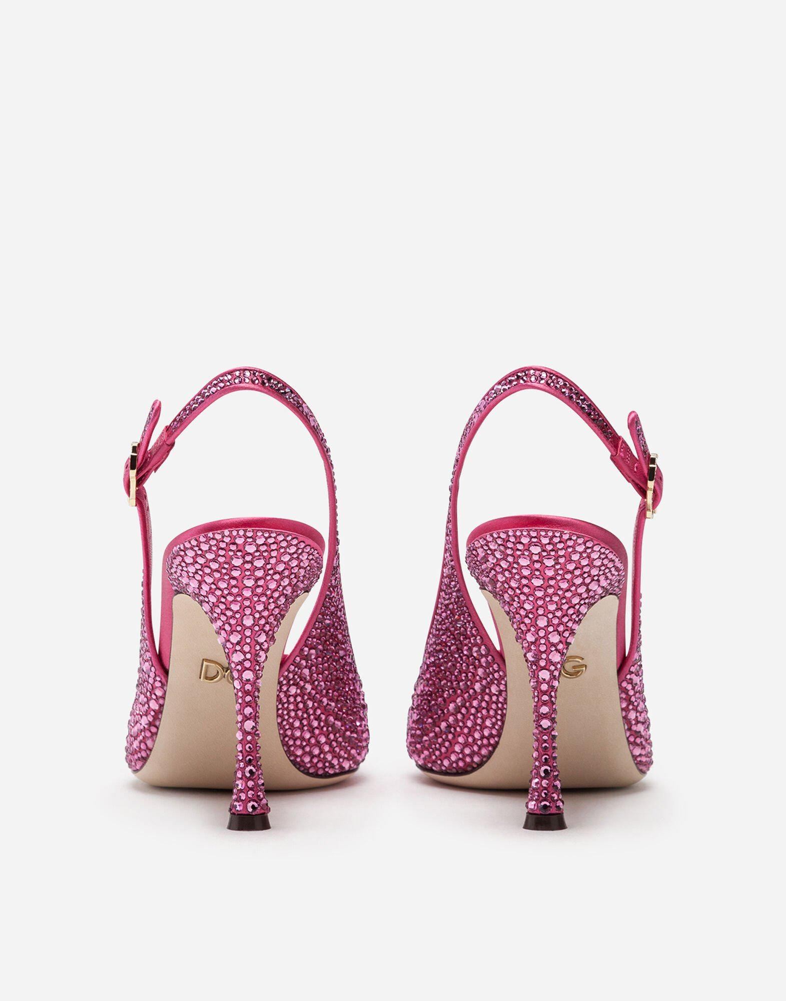 Sling backs in satin and crystal 2