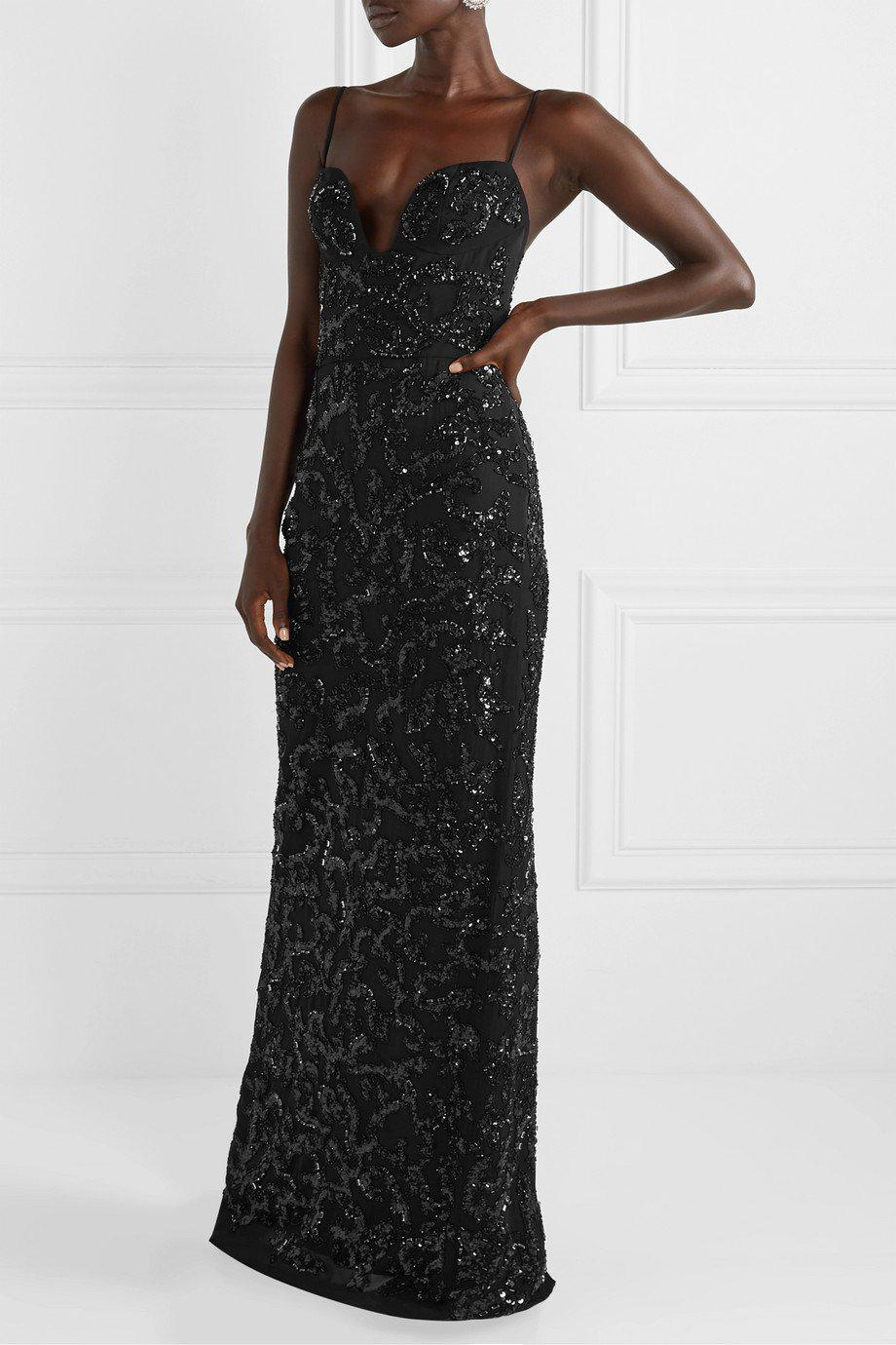PLUNGE NECK EMBROIDERED GOWN 1