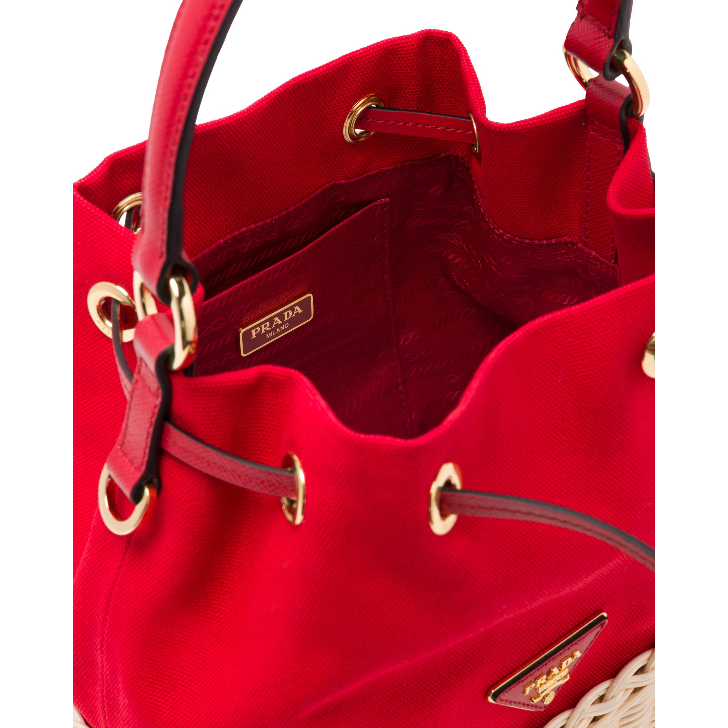 Wicker And Canvas Bucket Bag Women Tan/red 4