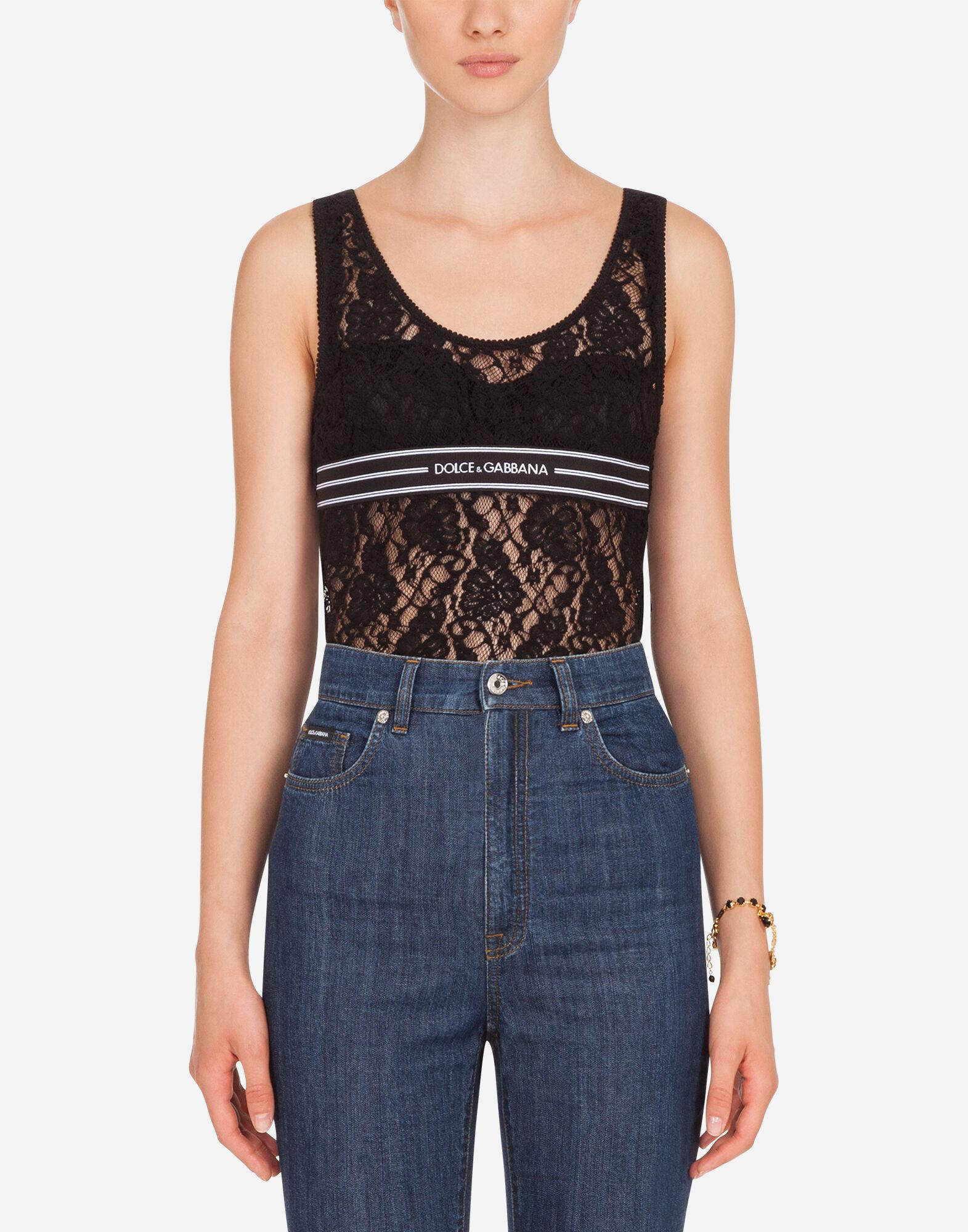 Lace top with branded elastic