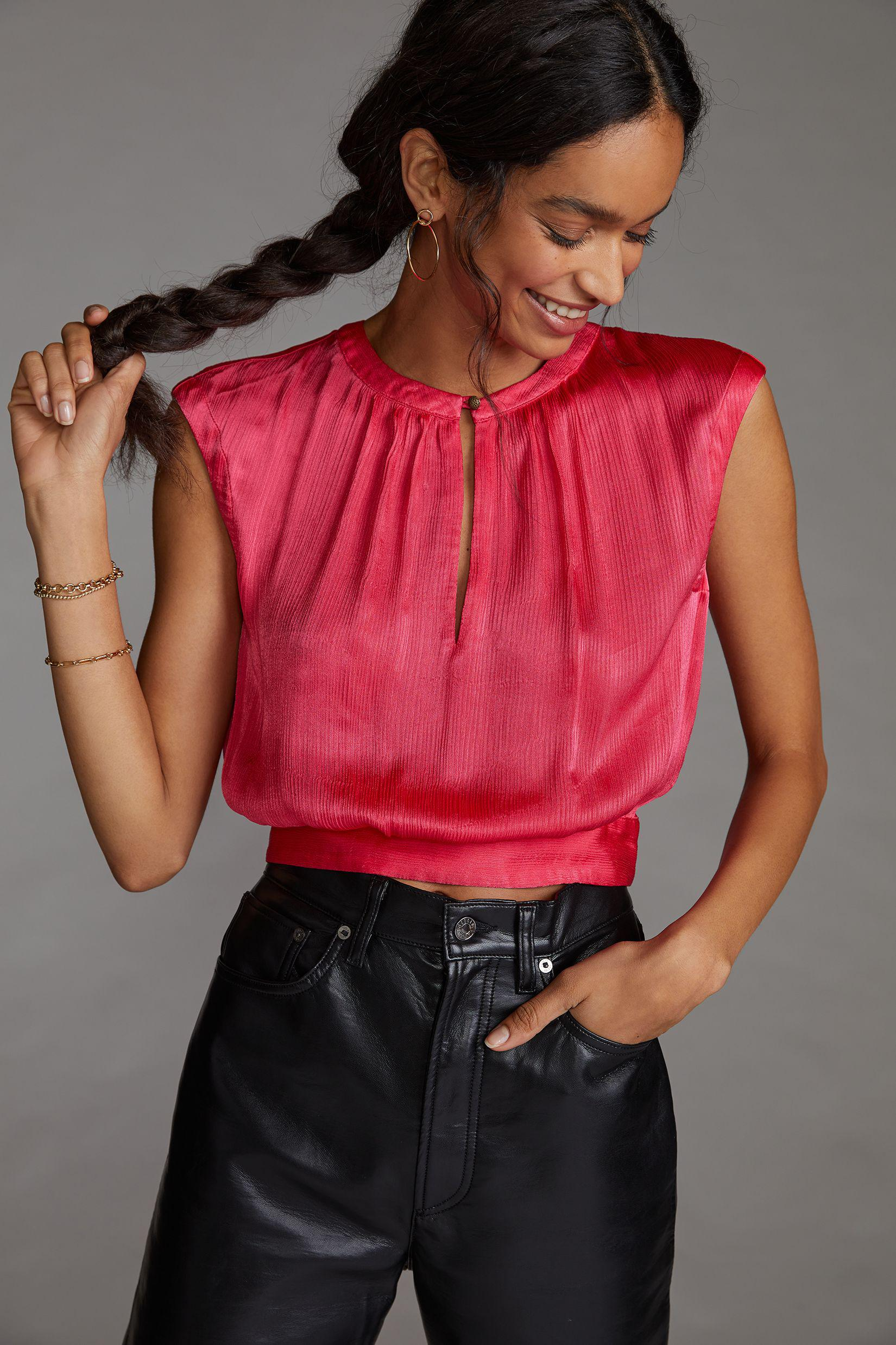 Cropped Open-Back Blouse