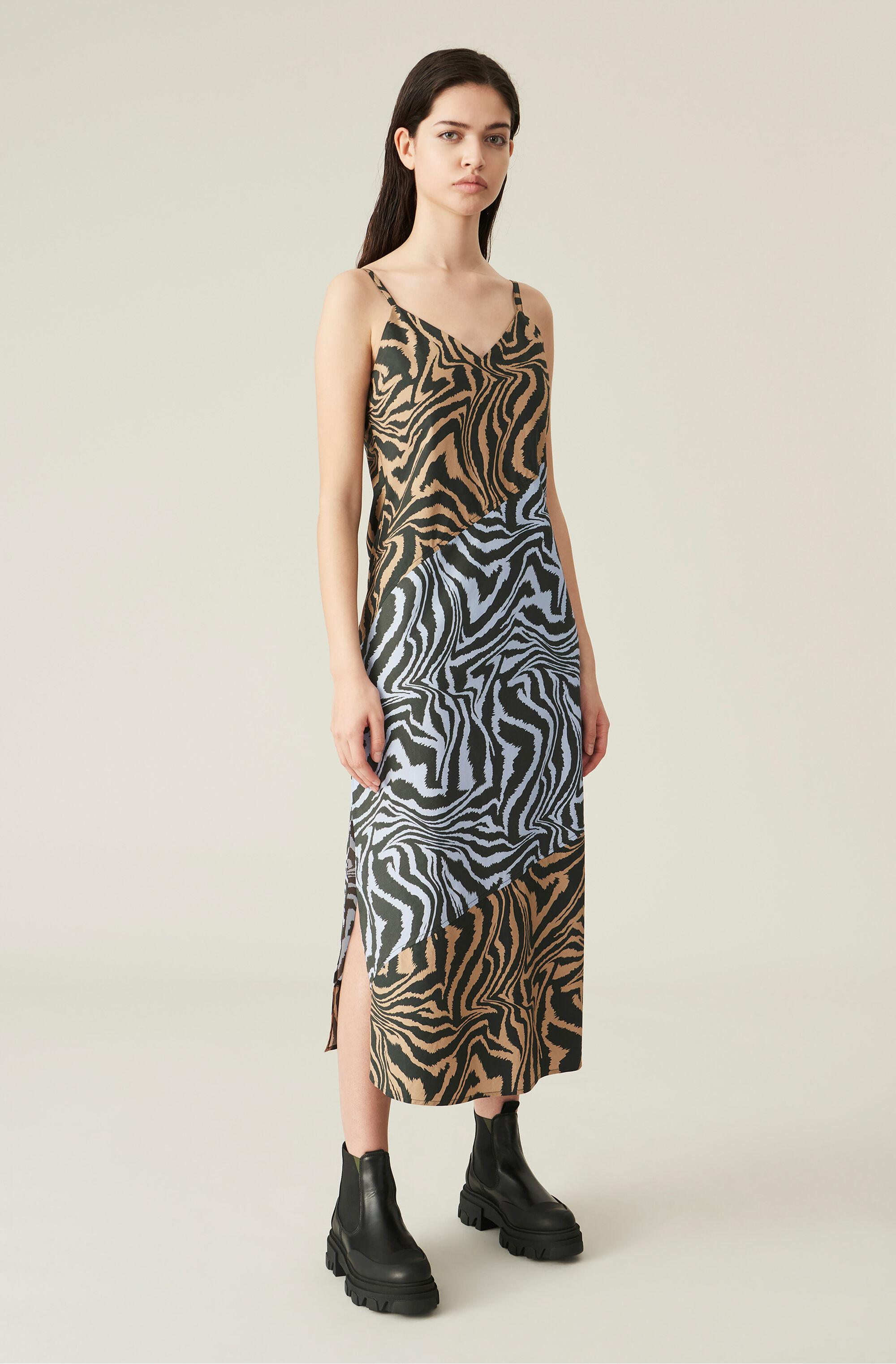 Printed Cotton Slip Dress With Cutlines