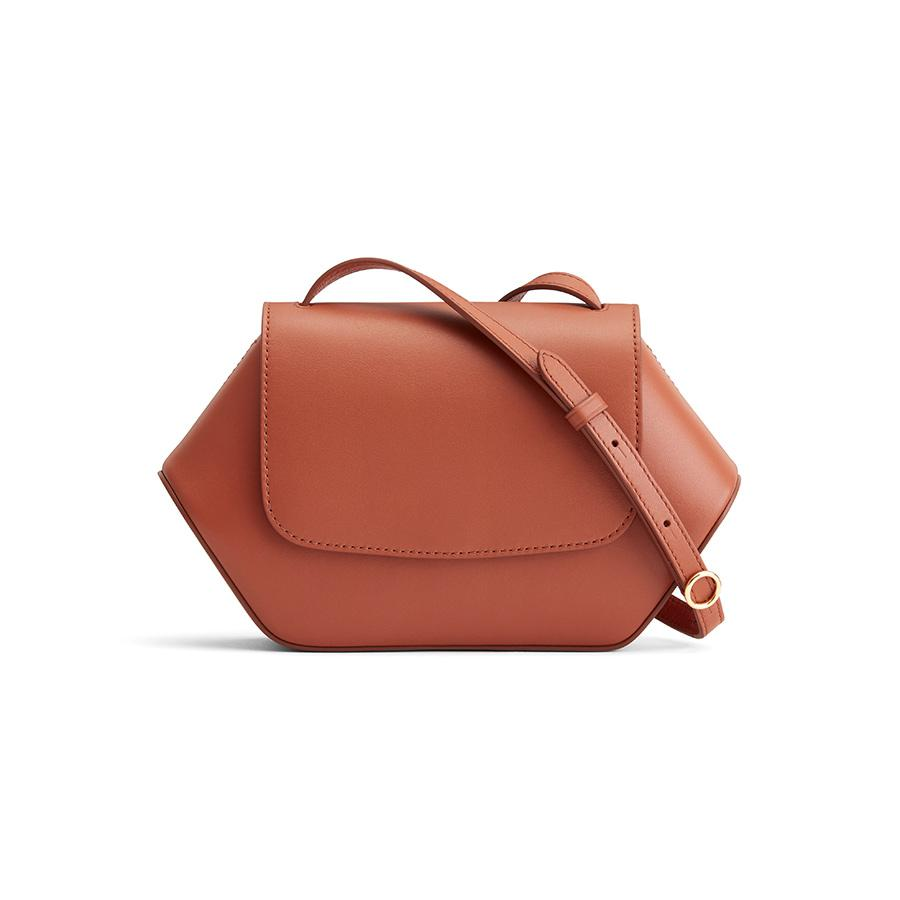 Women's Mini Hexagon Crossbody Bag in Sienna | Smooth Leather by Cuyana