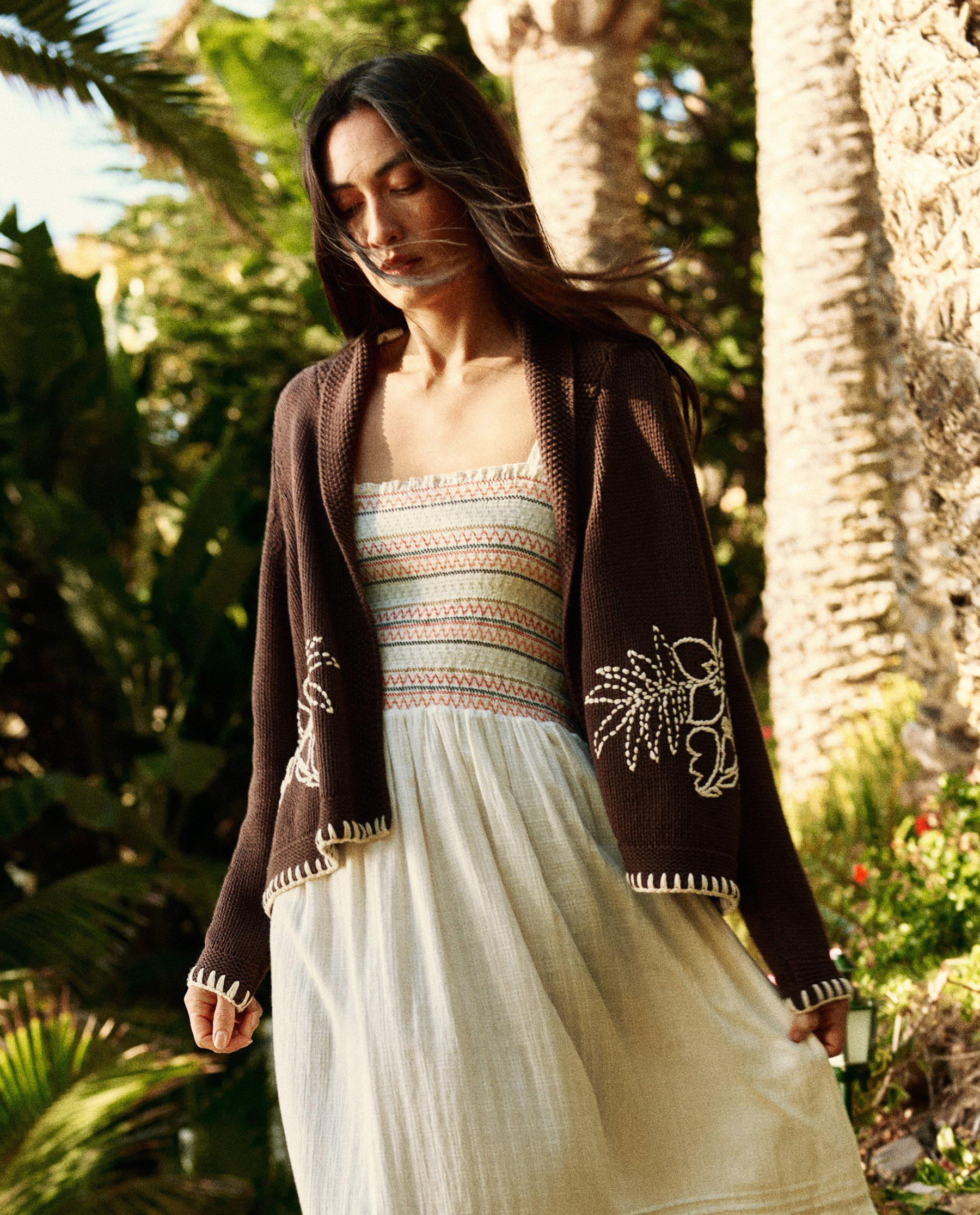 The Hawaiian Floral Embroidered Cardigan. -- Brown with Cream