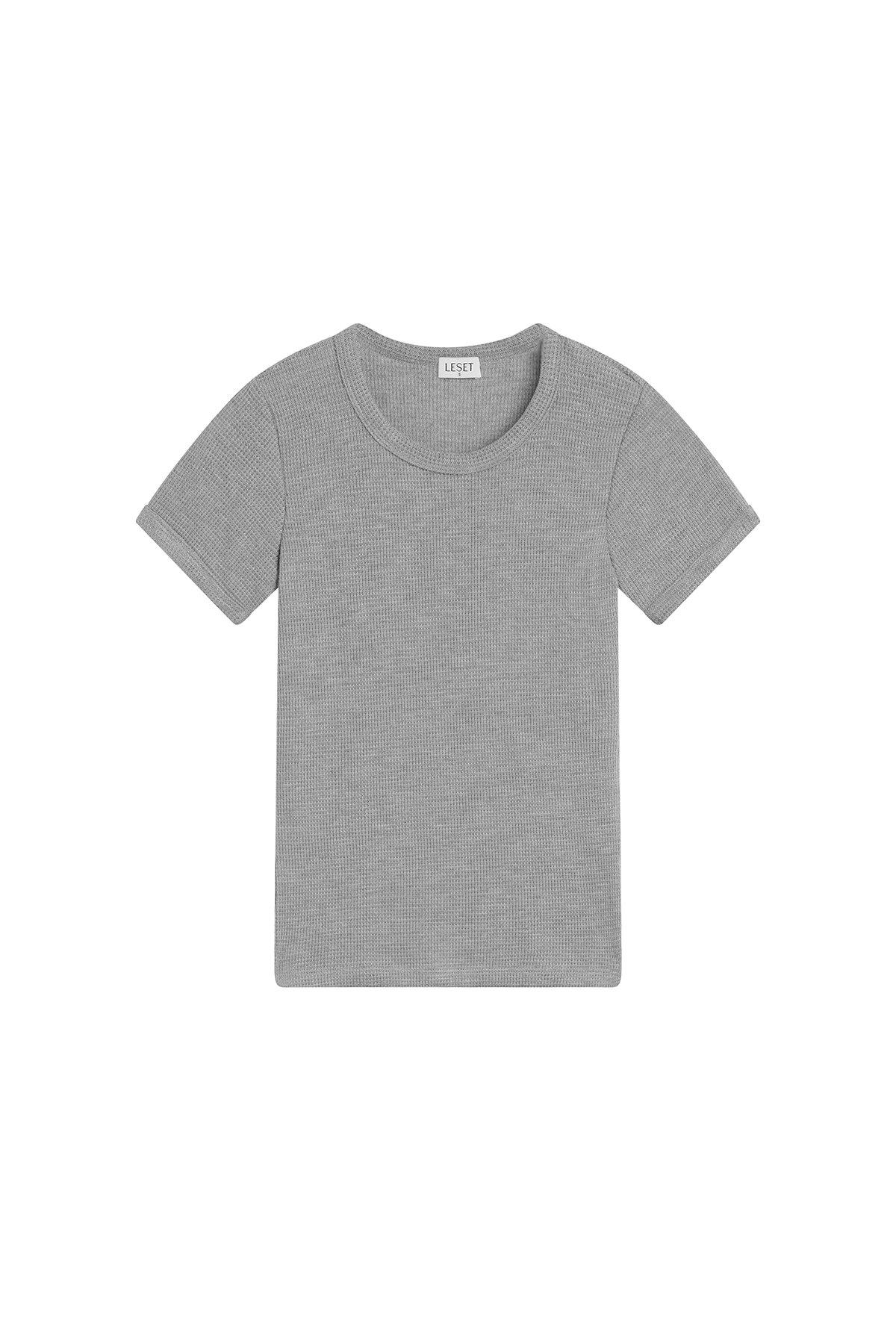 Willow Waffle Slim Fit Tee - Light Heather Grey 3