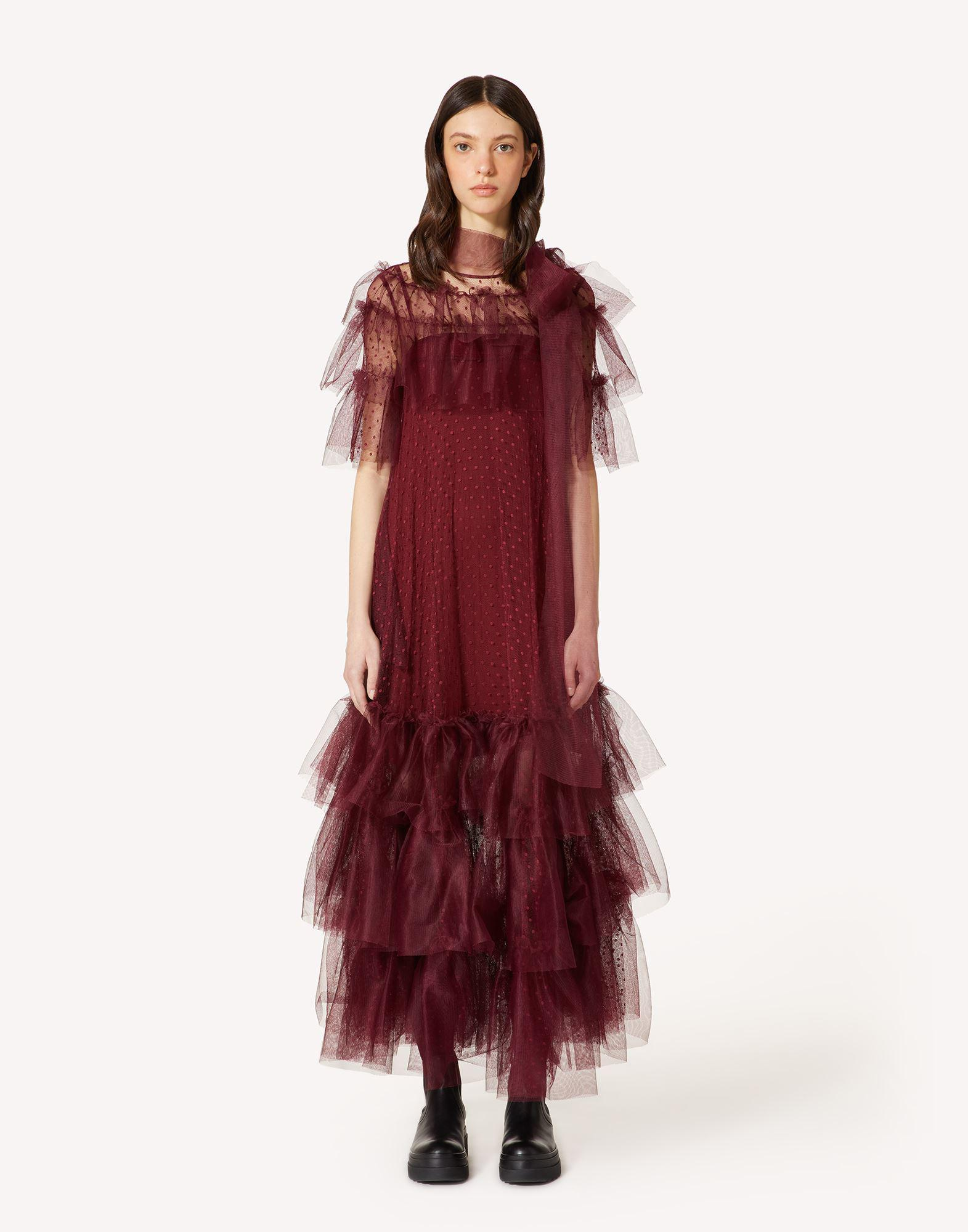 POINT D'ESPRIT TULLE DRESS WITH RUFFLES