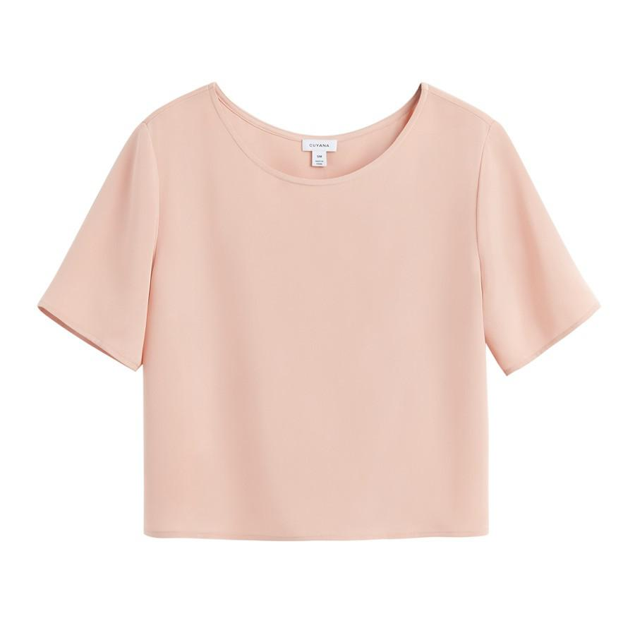 Women's Silk Cropped Tee in Soft Rose | Size: XL | 3-Ply Silk by Cuyana