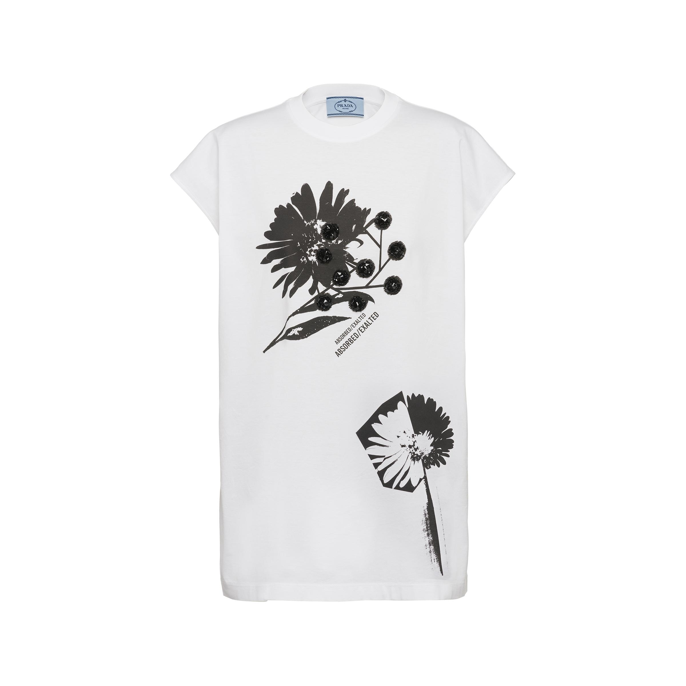 Printed Embroidered Jersey T-shirt Women White/black