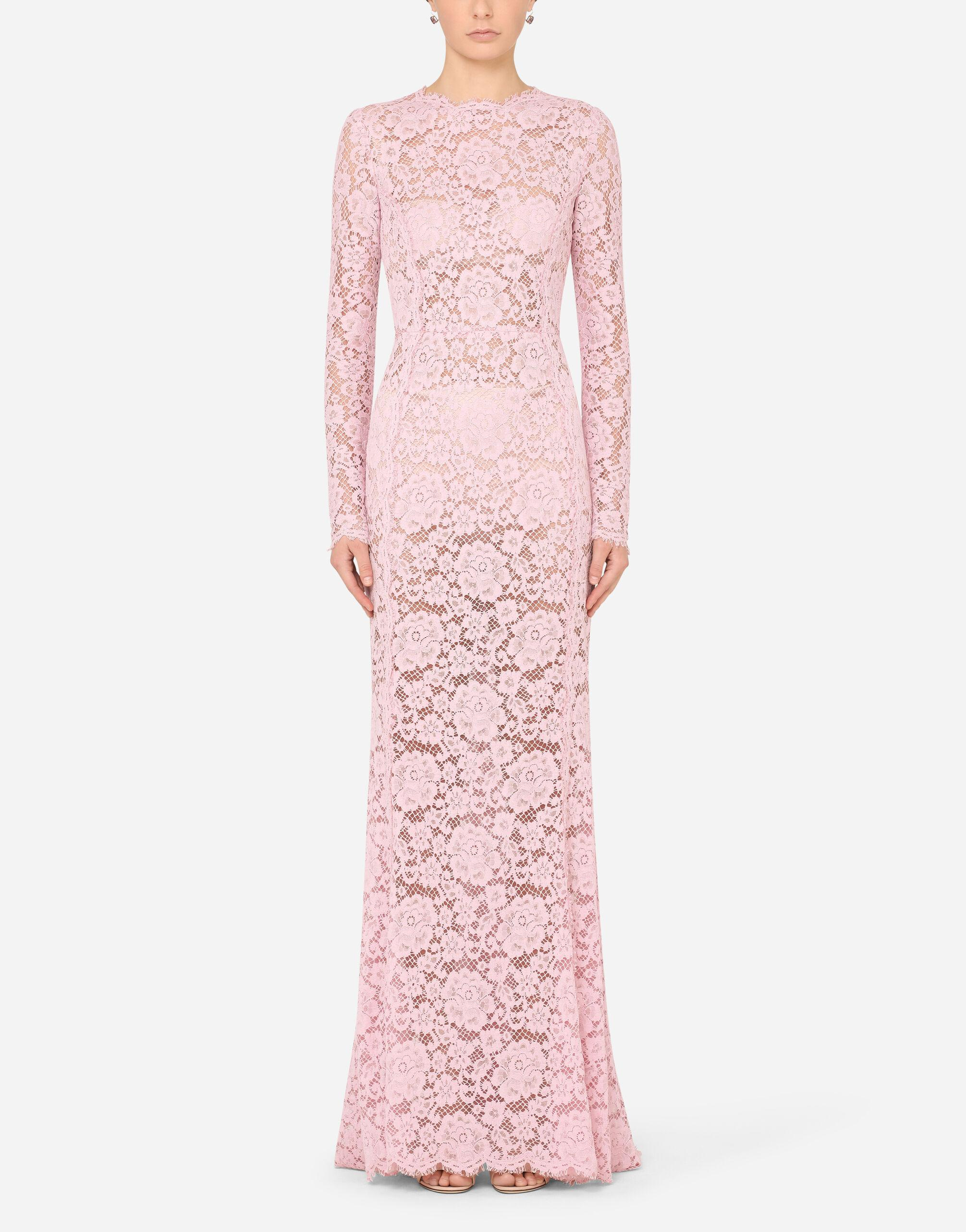 Long lace dress with train