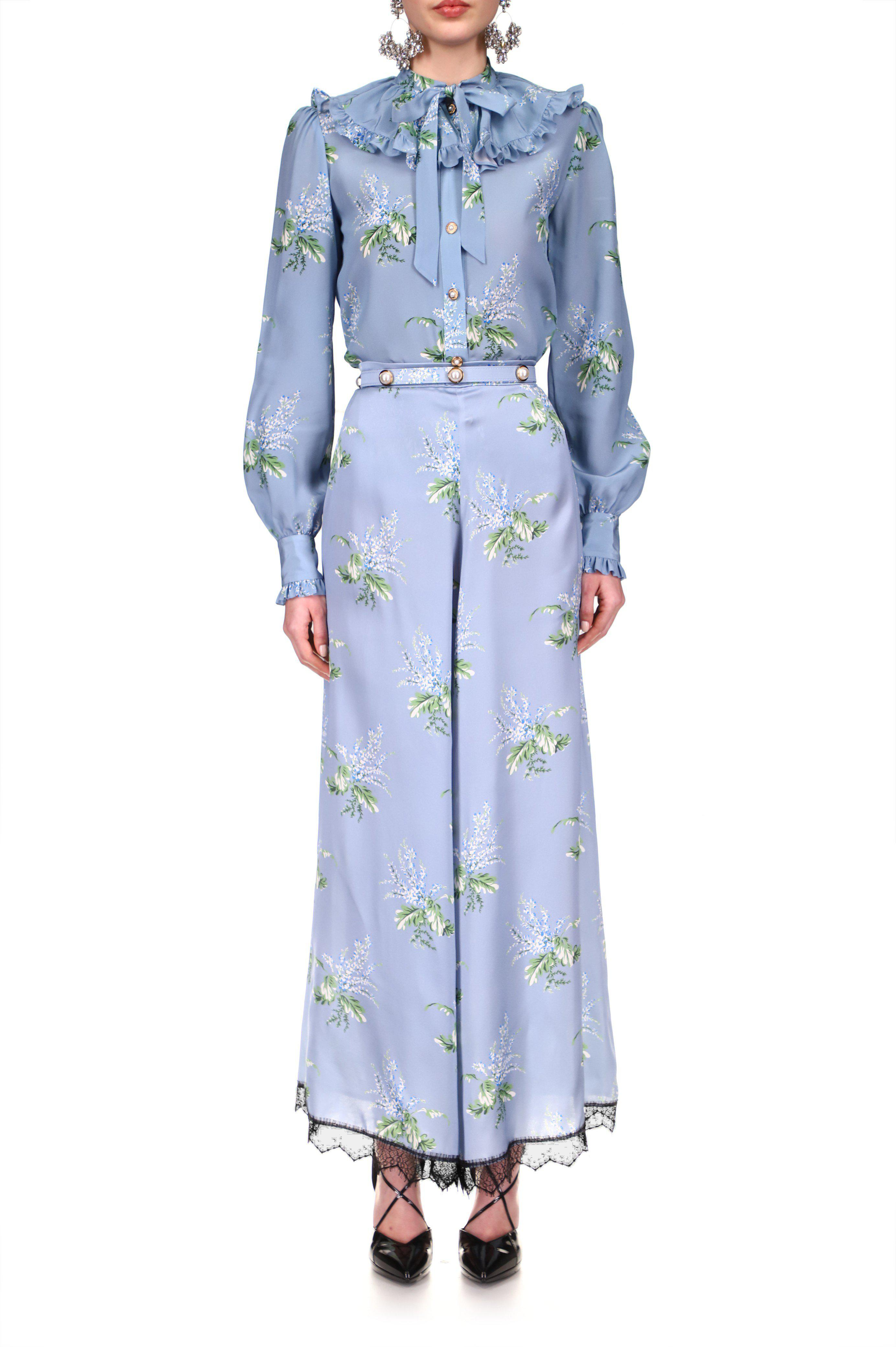 BLUE FLORAL SILK PANT WITH LACE DETAIL