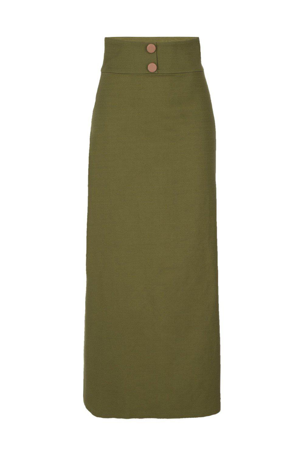 Safari Solid Long Skirt with Buttons 3