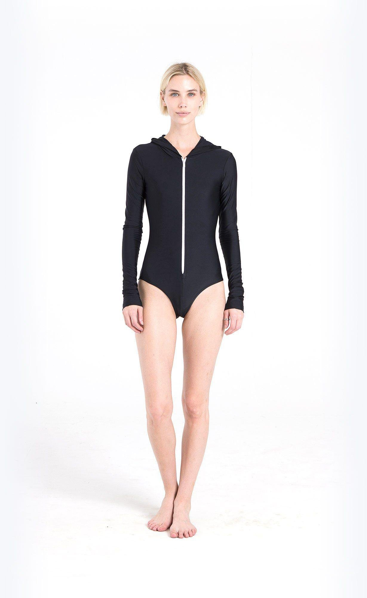Long-Sleeved Hooded Front-Zip Swimsuit