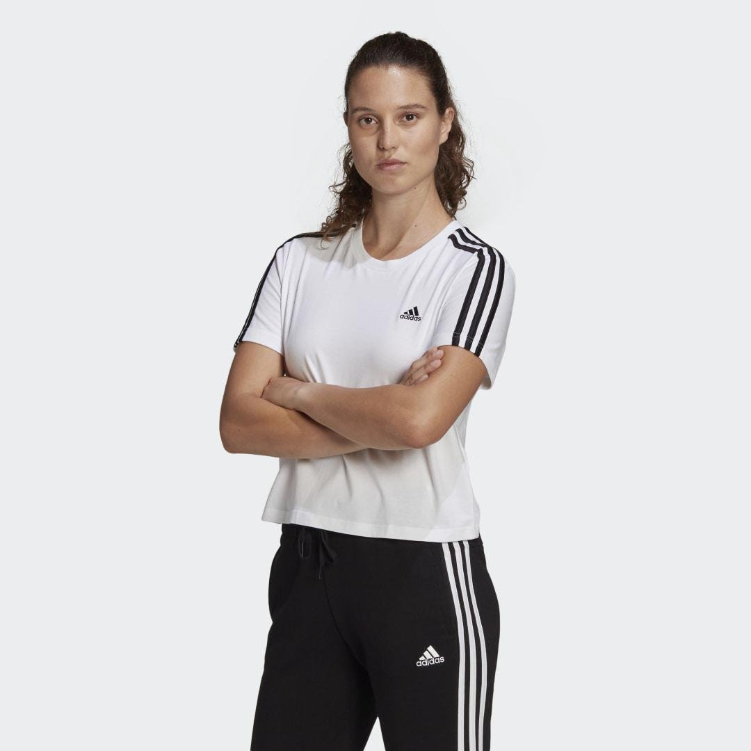 Essentials Loose 3-Stripes Cropped Tee White