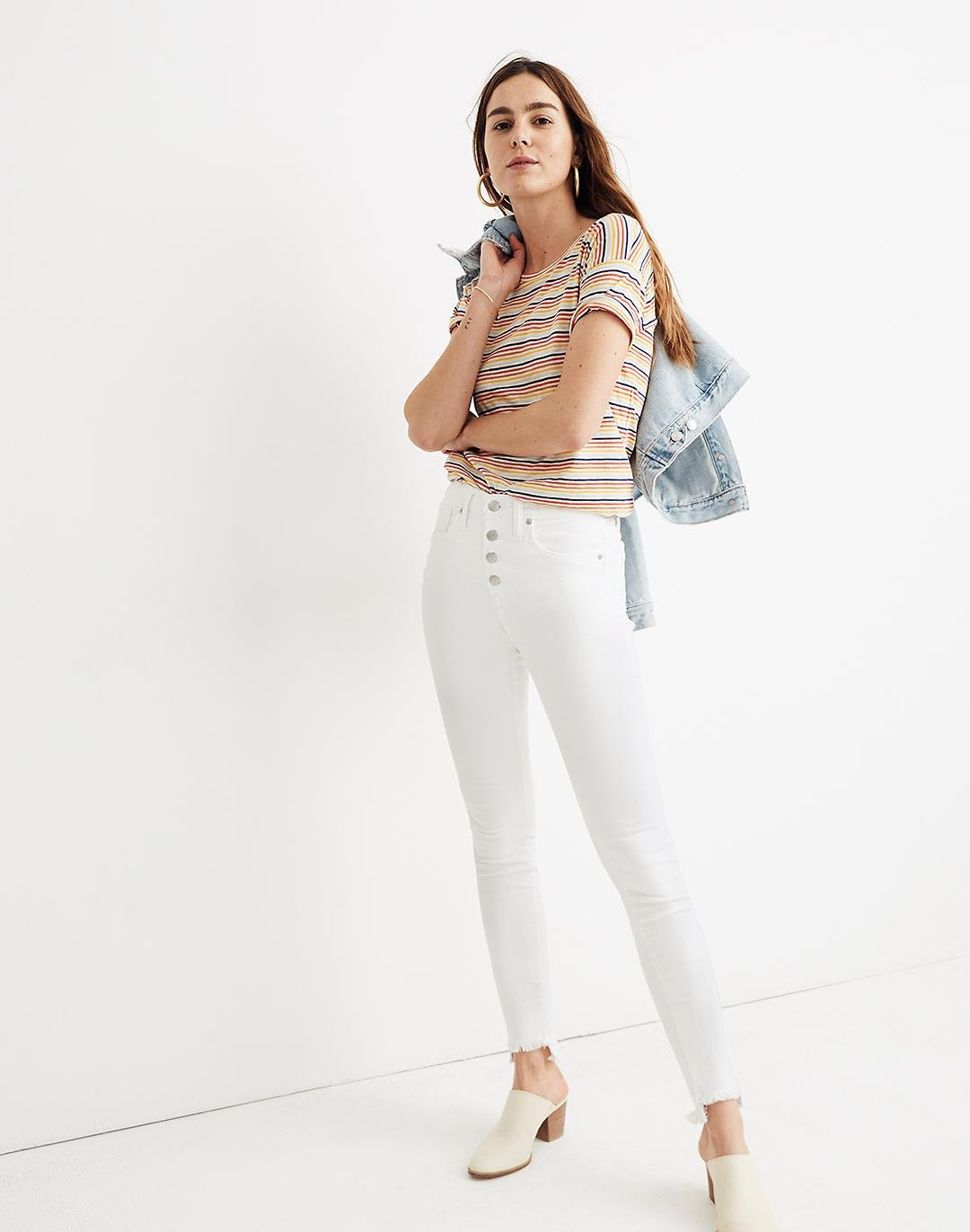 """10"""" High-Rise Skinny Jeans in Pure White: Step-Hem Edition"""