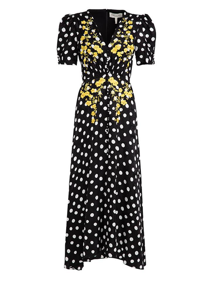 Lea Long Dress in Polka Dot Embroidered