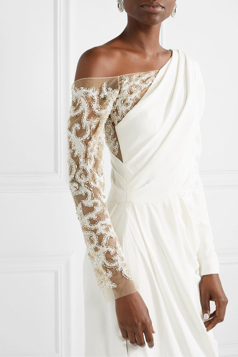 DRAPED CREPE EMBROIDERED GOWN 3